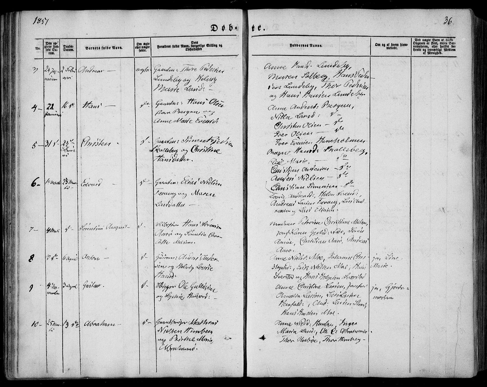SAKO, Sandar kirkebøker, F/Fa/L0006: Ministerialbok nr. 6, 1847-1860, s. 36