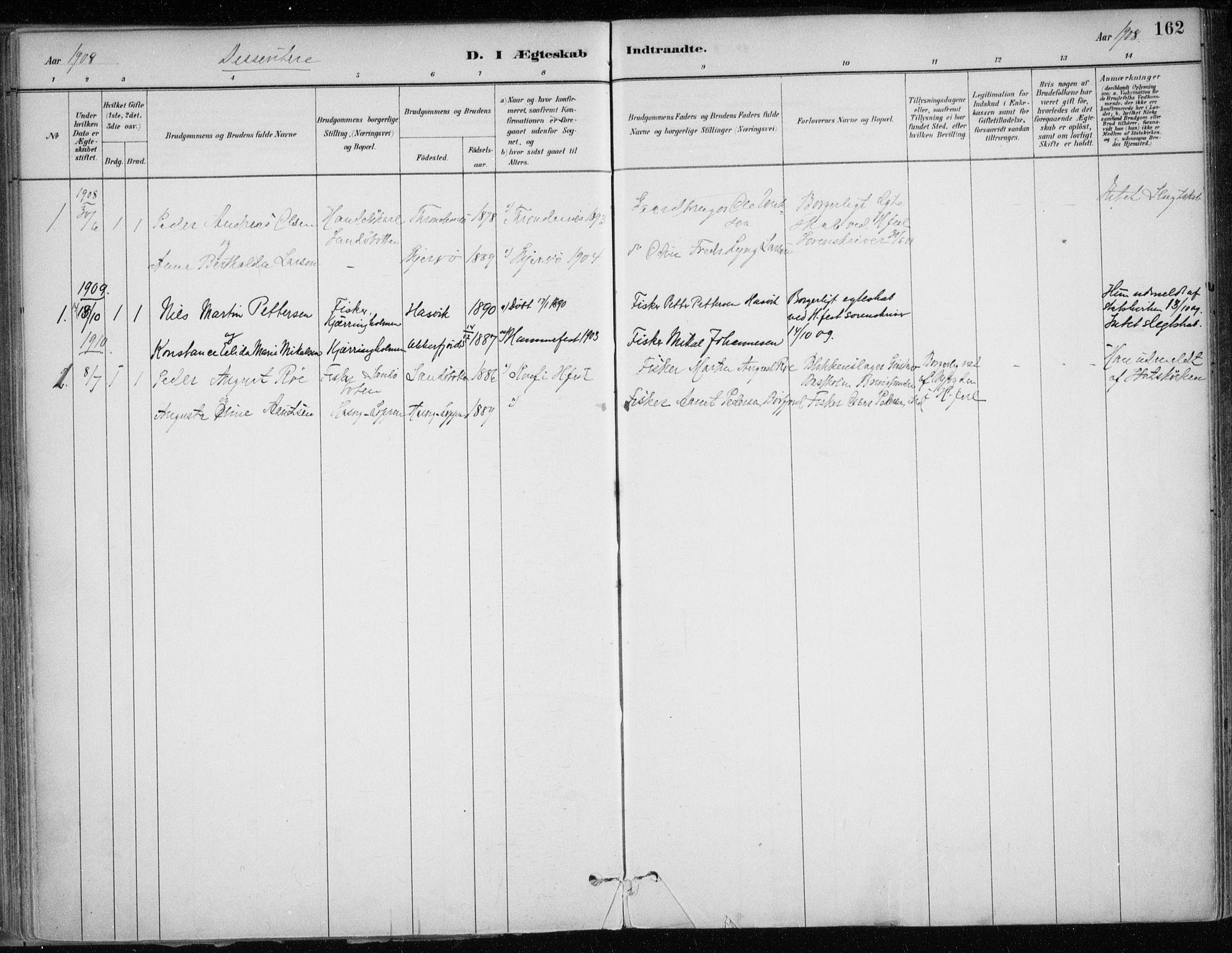 SATØ, Hammerfest sokneprestembete, Ministerialbok nr. 13, 1898-1917, s. 162