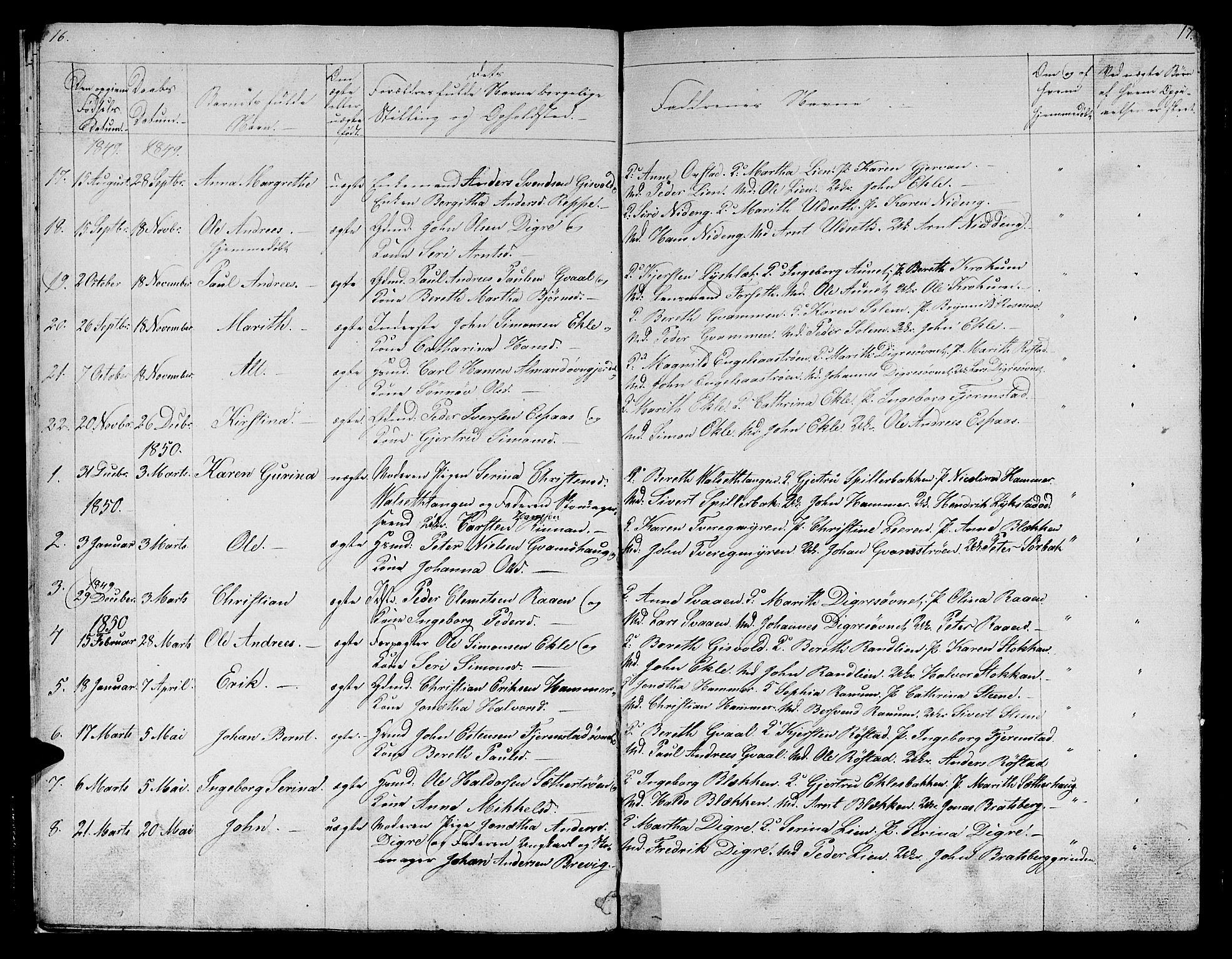 SAT, Ministerialprotokoller, klokkerbøker og fødselsregistre - Sør-Trøndelag, 608/L0339: Klokkerbok nr. 608C05, 1844-1863, s. 16-17