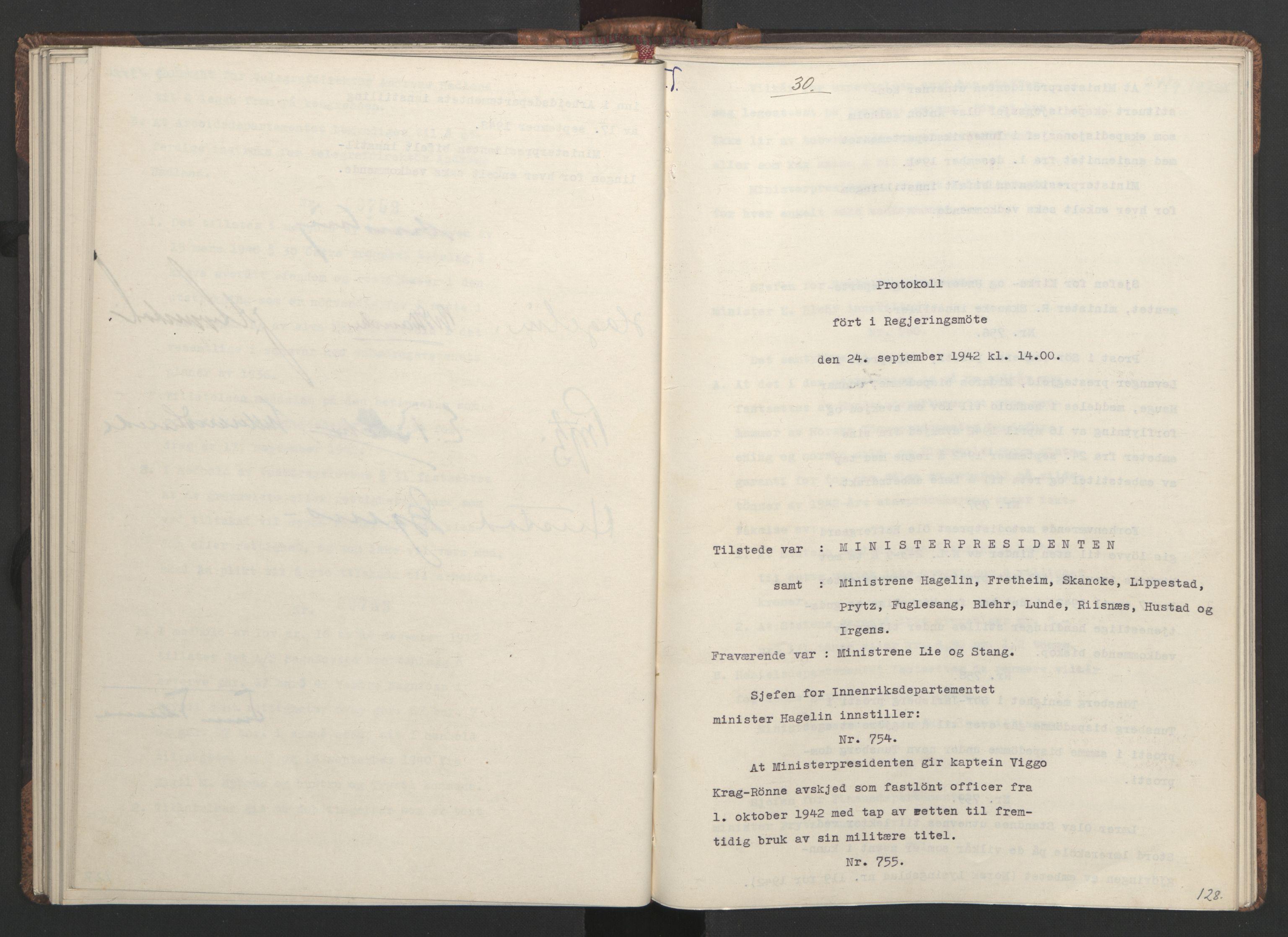 RA, NS-administrasjonen 1940-1945 (Statsrådsekretariatet, de kommisariske statsråder mm), D/Da/L0001: Beslutninger og tillegg (1-952 og 1-32), 1942, s. 127b-128a