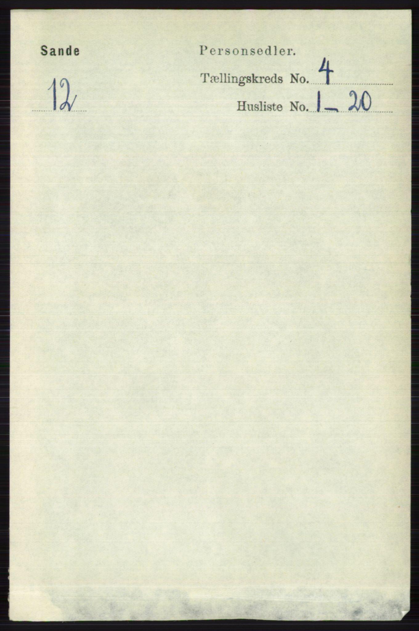 RA, Folketelling 1891 for 0713 Sande herred, 1891, s. 1483
