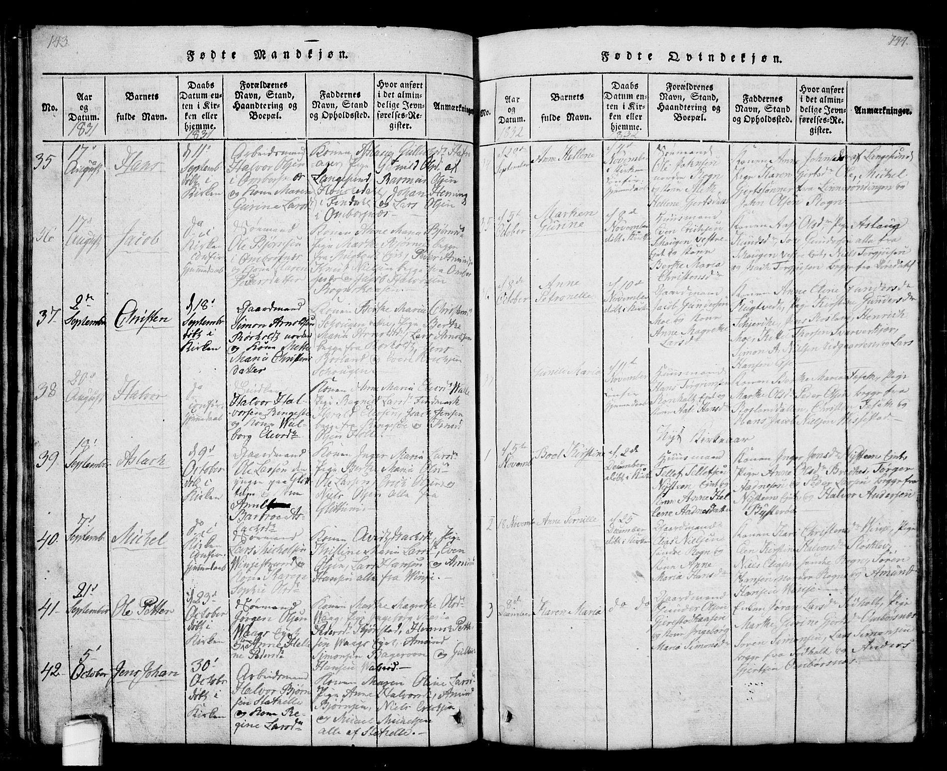 SAKO, Bamble kirkebøker, G/Ga/L0005: Klokkerbok nr. I 5, 1814-1855, s. 143-144