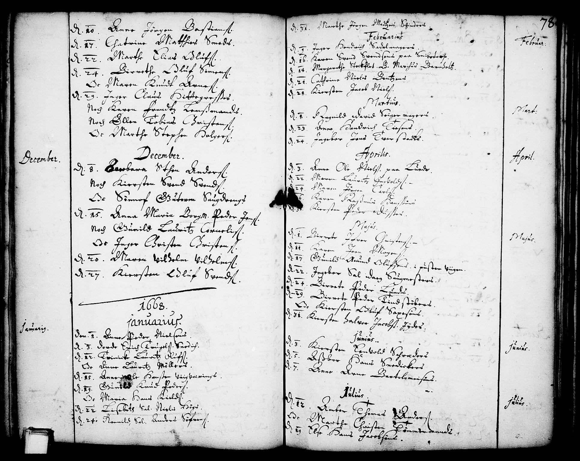 SAKO, Skien kirkebøker, F/Fa/L0001: Ministerialbok nr. 1, 1659-1679, s. 78