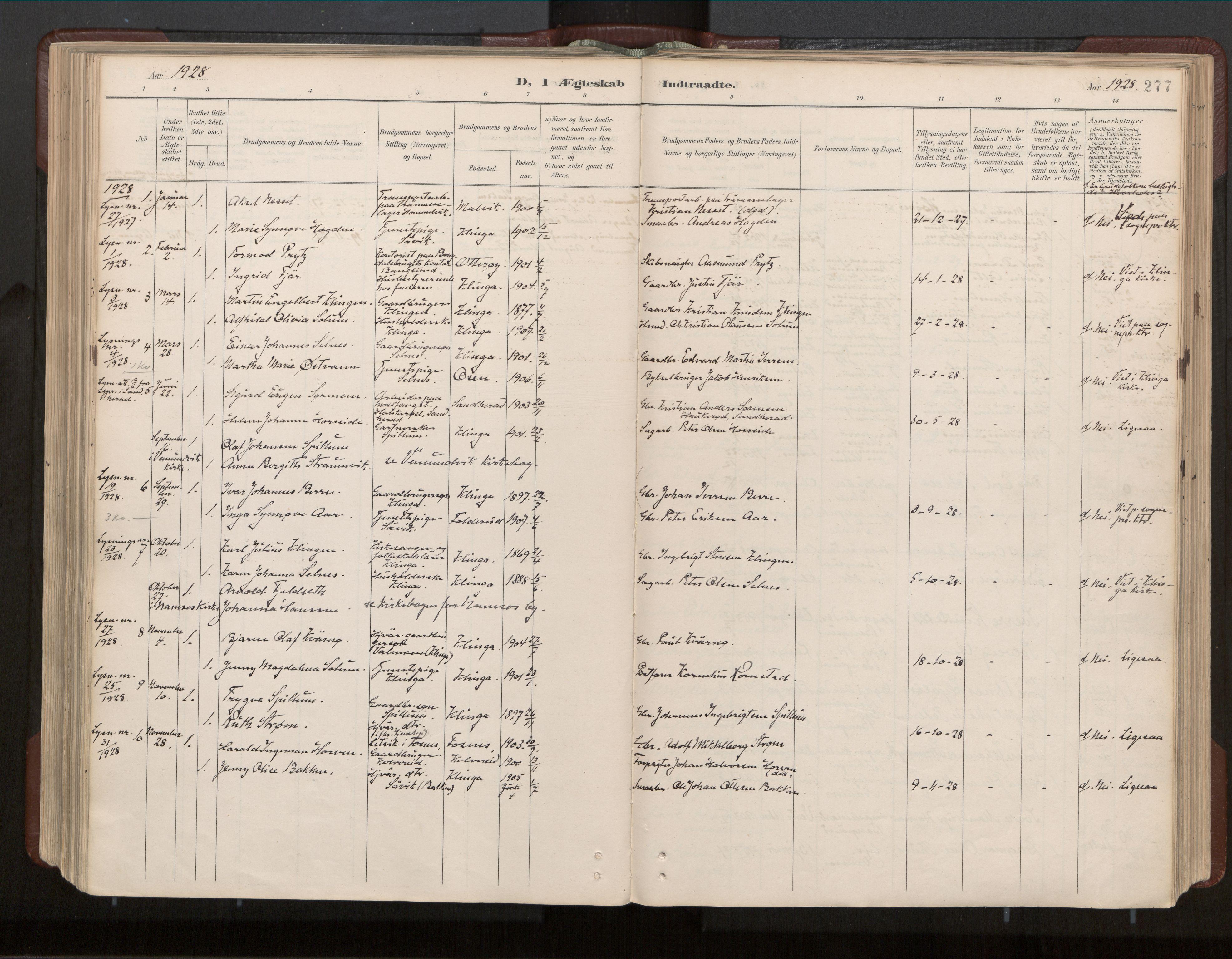 SAT, Ministerialprotokoller, klokkerbøker og fødselsregistre - Nord-Trøndelag, 770/L0589: Ministerialbok nr. 770A03, 1887-1929, s. 277