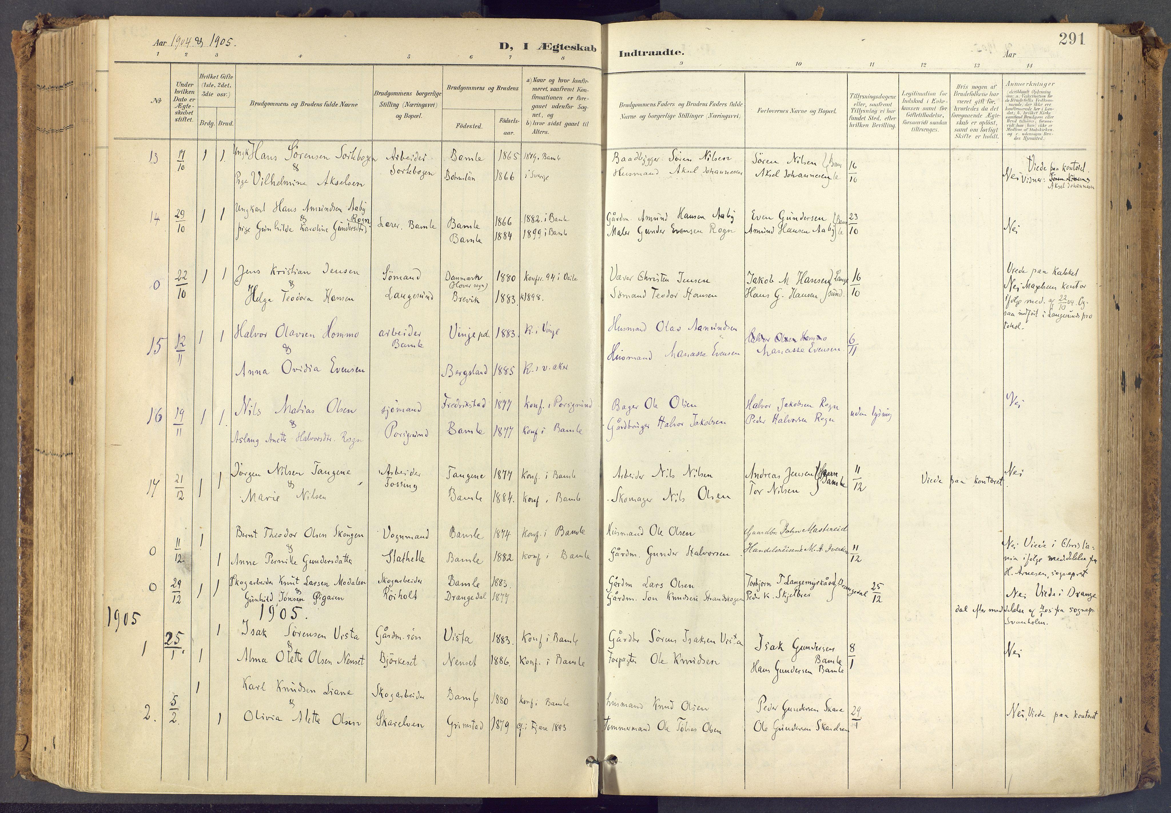 SAKO, Bamble kirkebøker, F/Fa/L0009: Ministerialbok nr. I 9, 1901-1917, s. 291