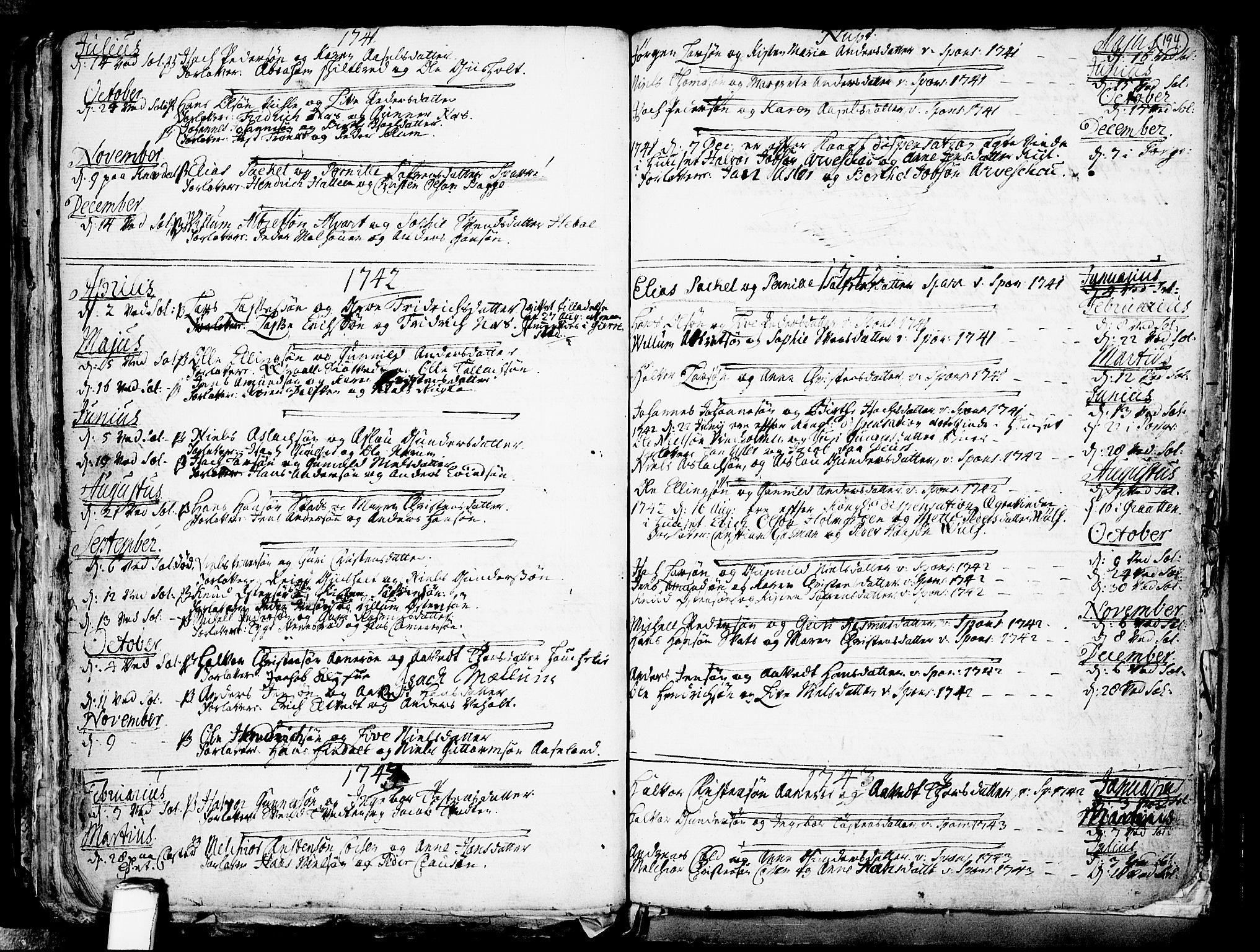 SAKO, Solum kirkebøker, F/Fa/L0002: Ministerialbok nr. I 2, 1713-1761, s. 194