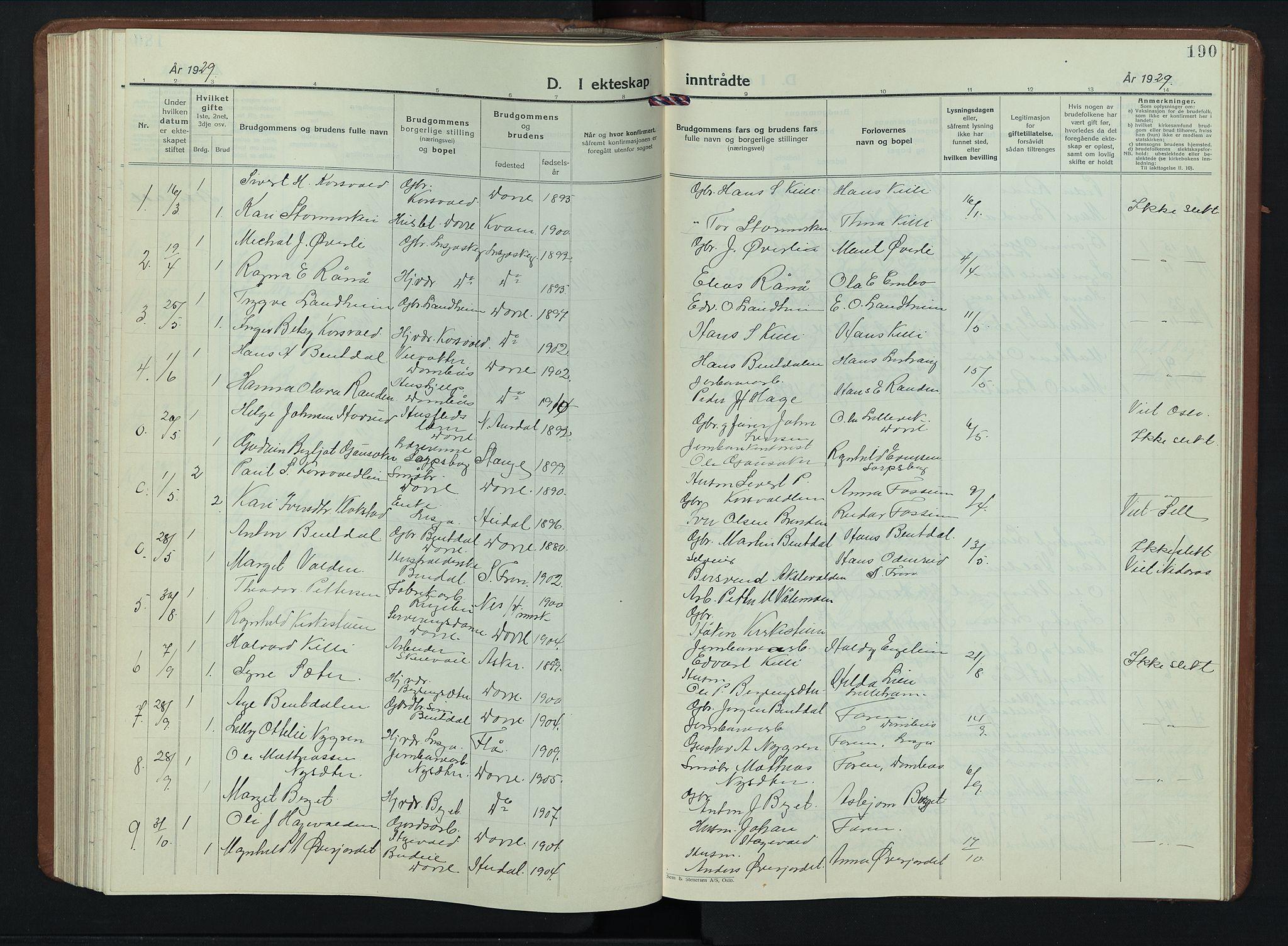 SAH, Dovre prestekontor, Klokkerbok nr. 4, 1926-1949, s. 190