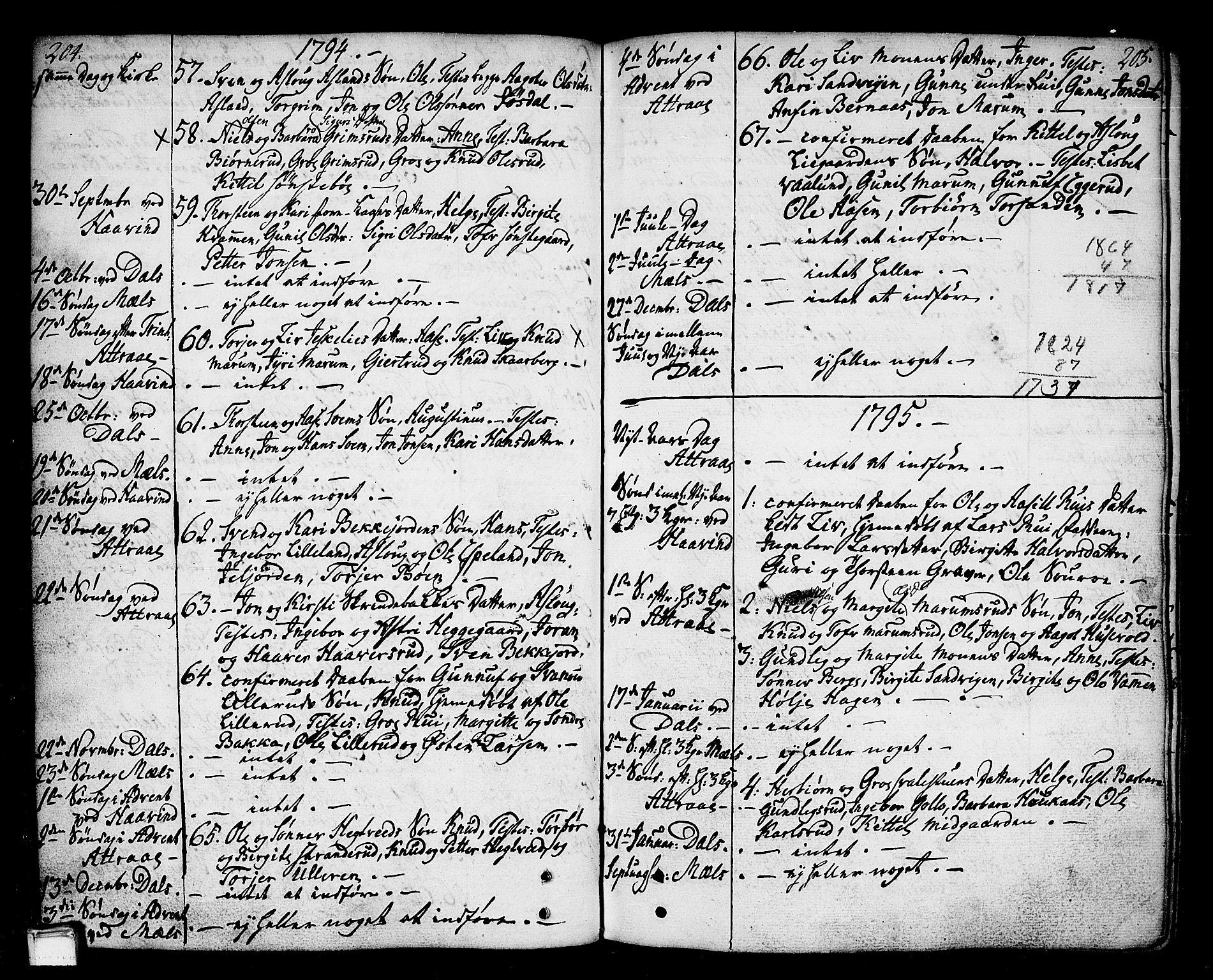 SAKO, Tinn kirkebøker, F/Fa/L0002: Ministerialbok nr. I 2, 1757-1810, s. 204-205