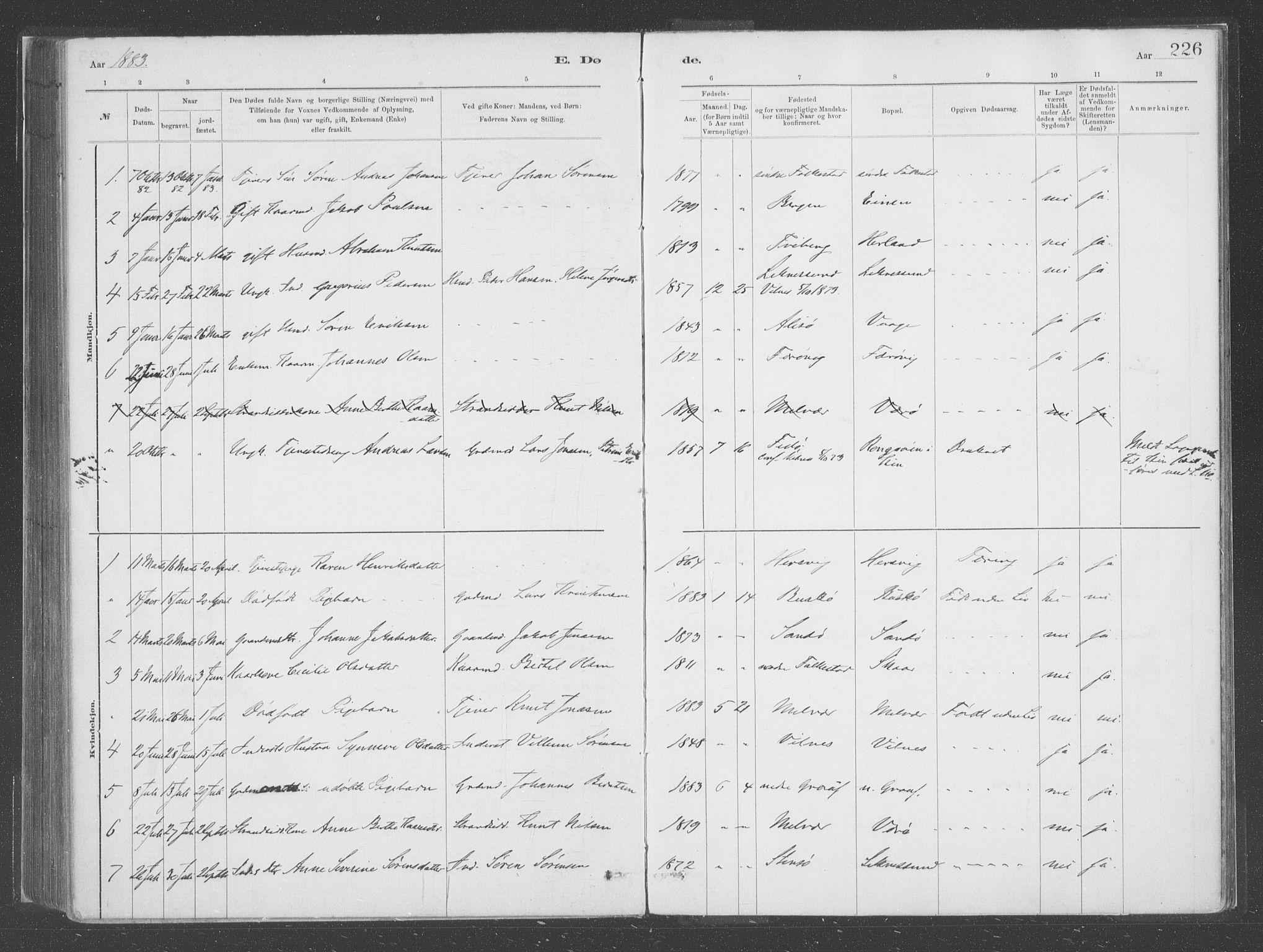 SAB, Askvoll Sokneprestembete, Ministerialbok nr. C  1, 1879-1922, s. 226
