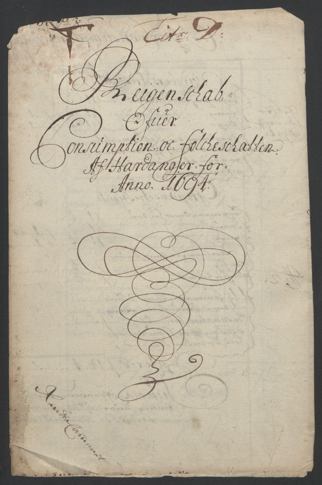 RA, Rentekammeret inntil 1814, Reviderte regnskaper, Fogderegnskap, R48/L2975: Fogderegnskap Sunnhordland og Hardanger, 1694, s. 311