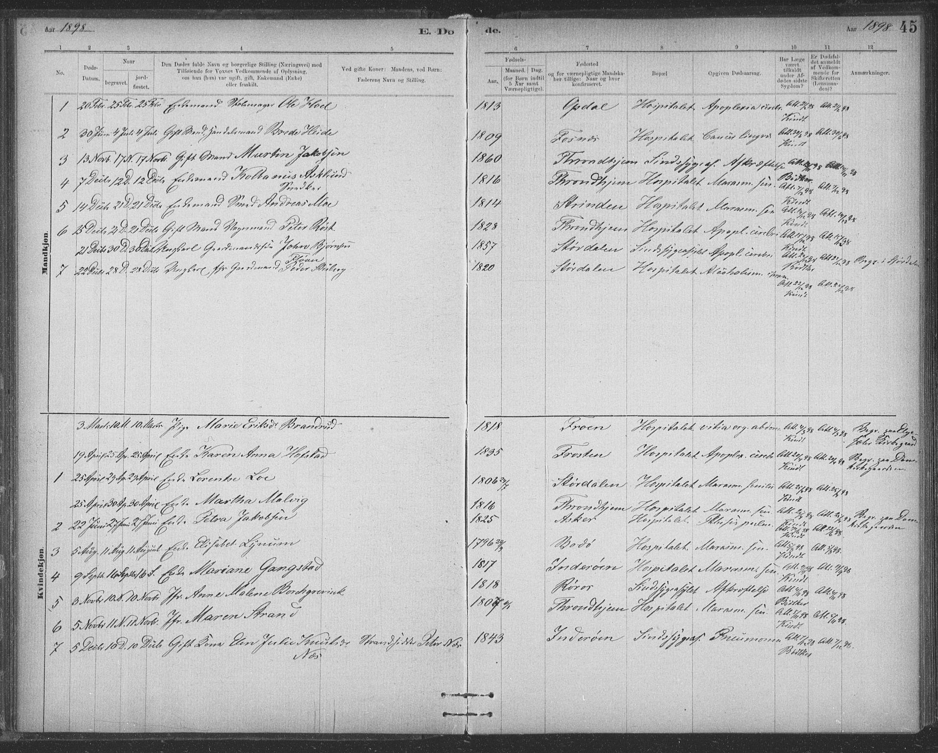 SAT, Ministerialprotokoller, klokkerbøker og fødselsregistre - Sør-Trøndelag, 623/L0470: Ministerialbok nr. 623A04, 1884-1938, s. 45