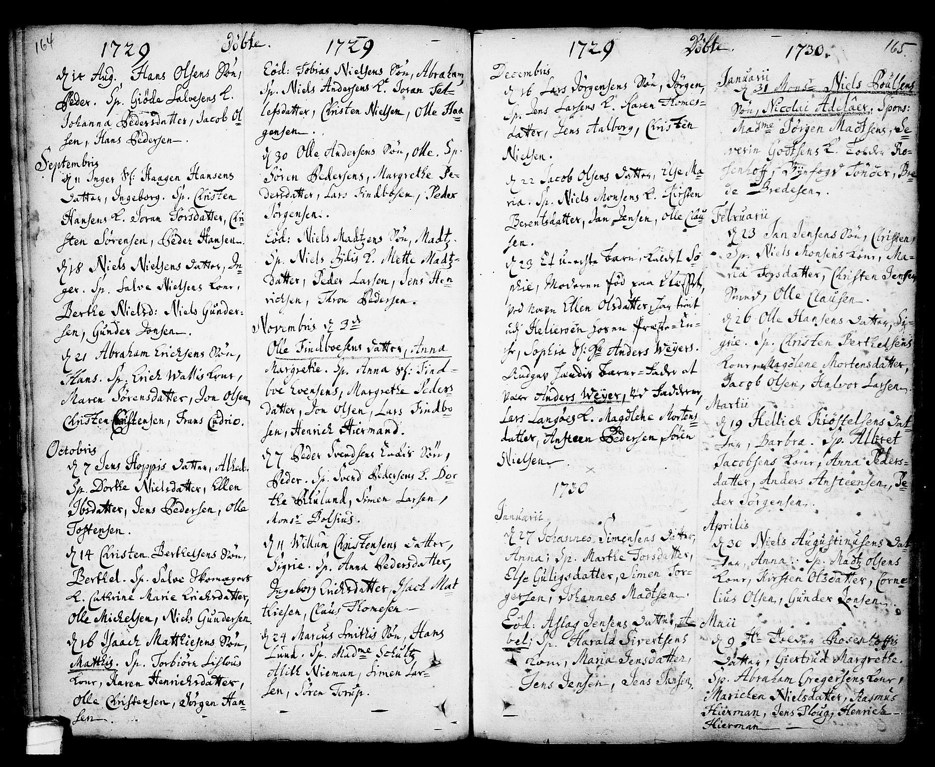 SAKO, Kragerø kirkebøker, F/Fa/L0001: Ministerialbok nr. 1, 1702-1766, s. 164-165