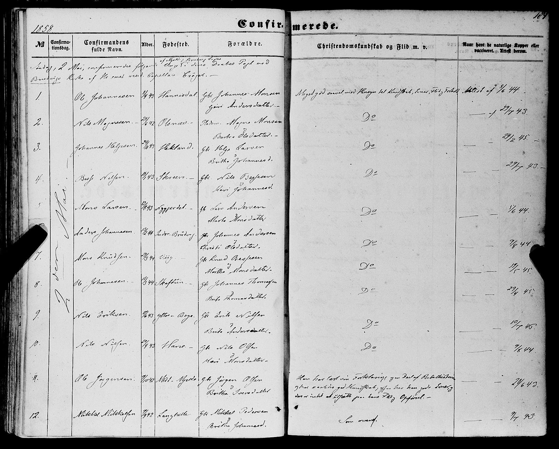 SAB, Haus Sokneprestembete, H/Haa: Ministerialbok nr. A 17, 1858-1870, s. 184