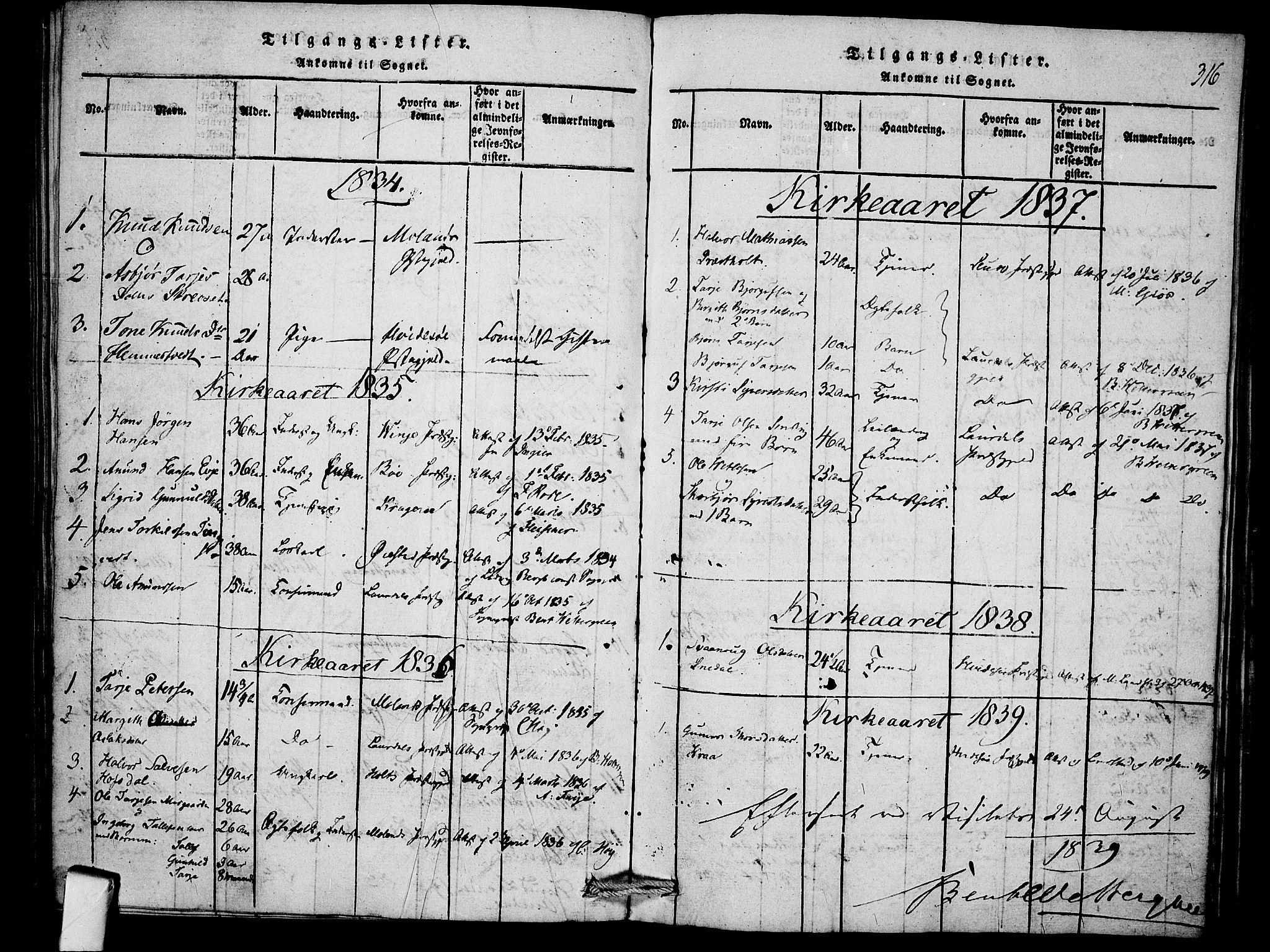 SAKO, Mo kirkebøker, F/Fb/L0001: Ministerialbok nr. II 1, 1814-1844, s. 316