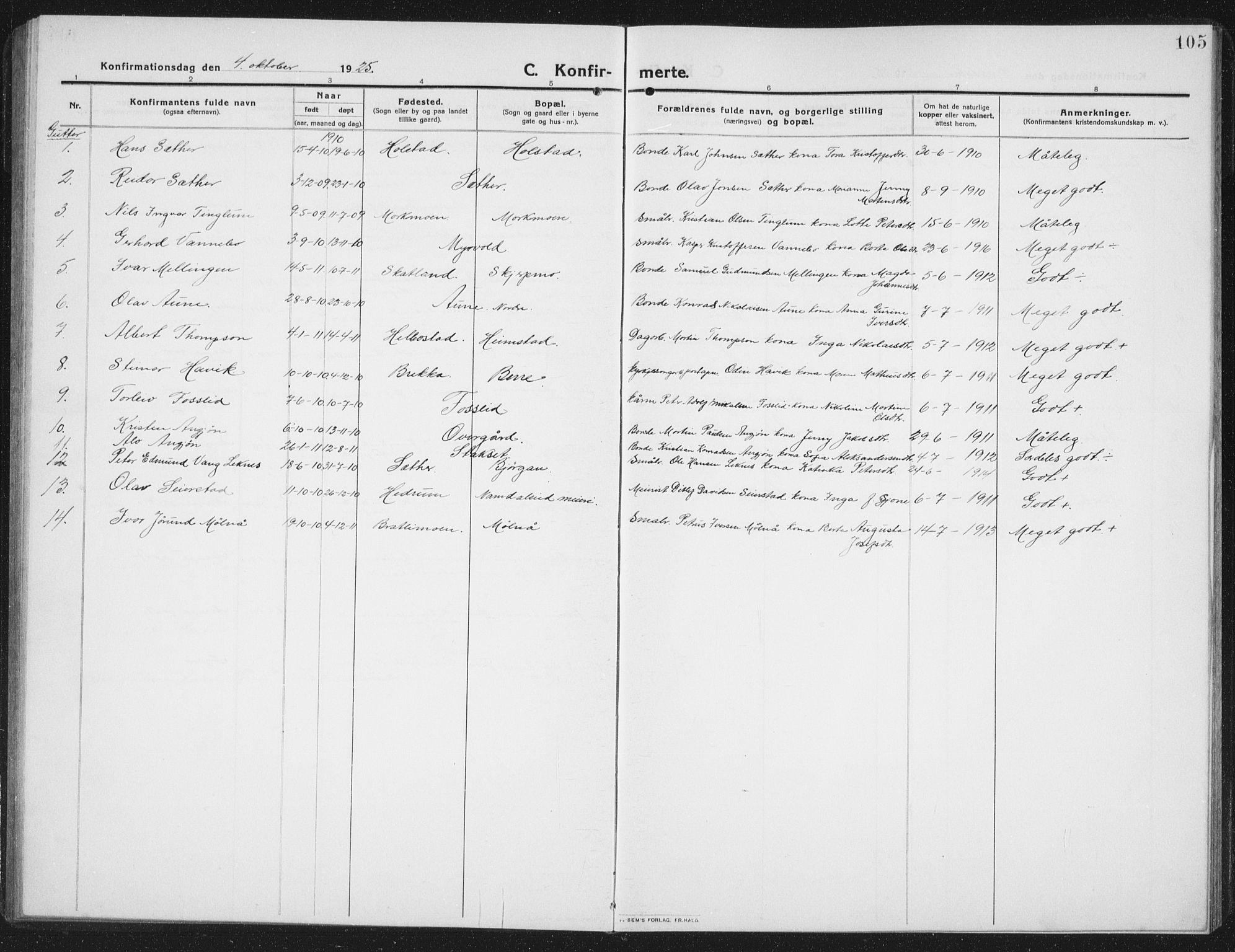 SAT, Ministerialprotokoller, klokkerbøker og fødselsregistre - Nord-Trøndelag, 742/L0413: Klokkerbok nr. 742C04, 1911-1938, s. 105