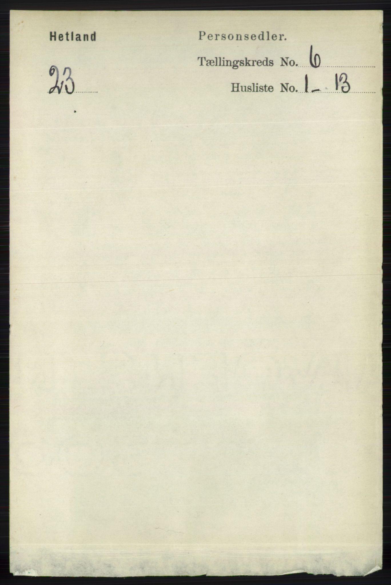 RA, Folketelling 1891 for 1126 Hetland herred, 1891, s. 3394