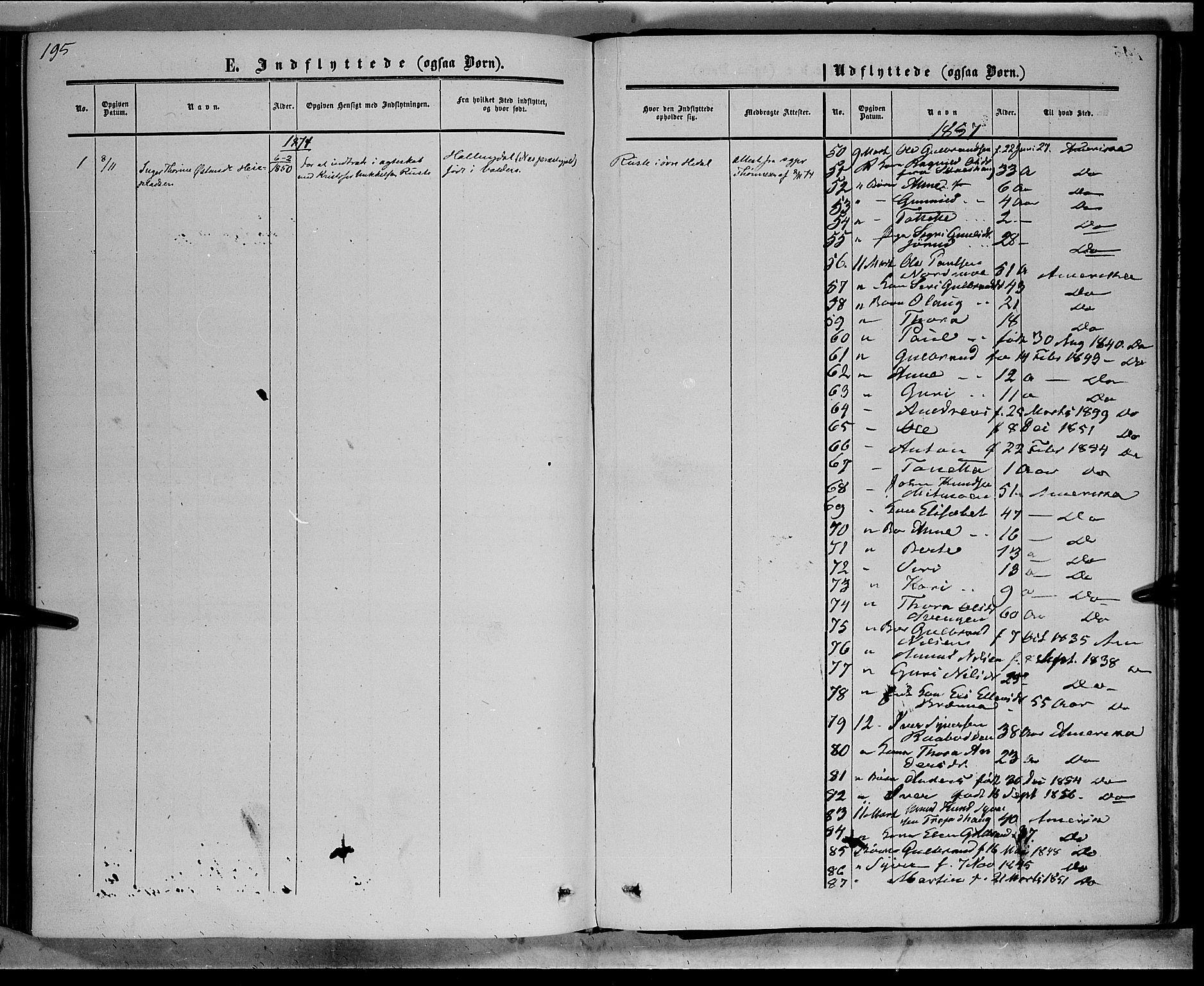 SAH, Sør-Aurdal prestekontor, Ministerialbok nr. 7, 1849-1876, s. 195
