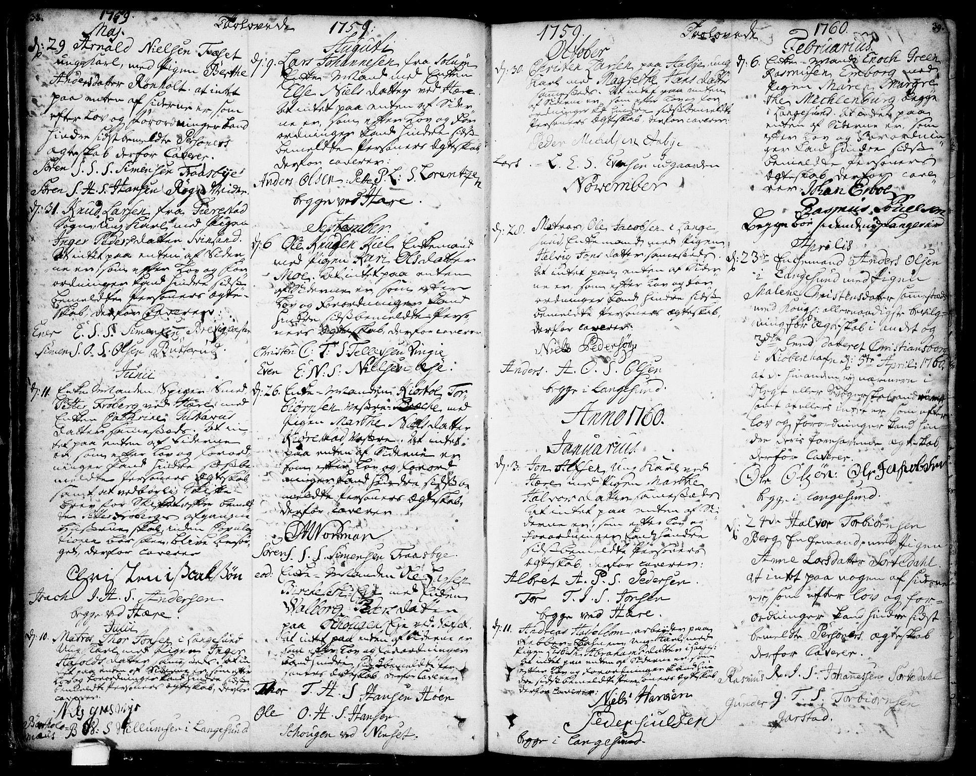 SAKO, Bamble kirkebøker, F/Fa/L0001: Ministerialbok nr. I 1, 1702-1774, s. 38-39