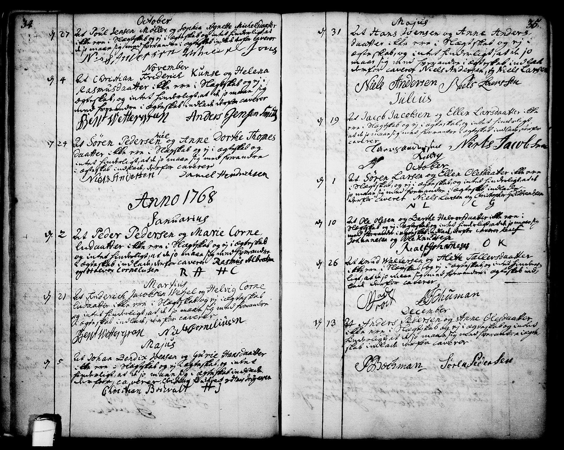 SAKO, Skien kirkebøker, F/Fa/L0003: Ministerialbok nr. 3, 1755-1791, s. 34-35