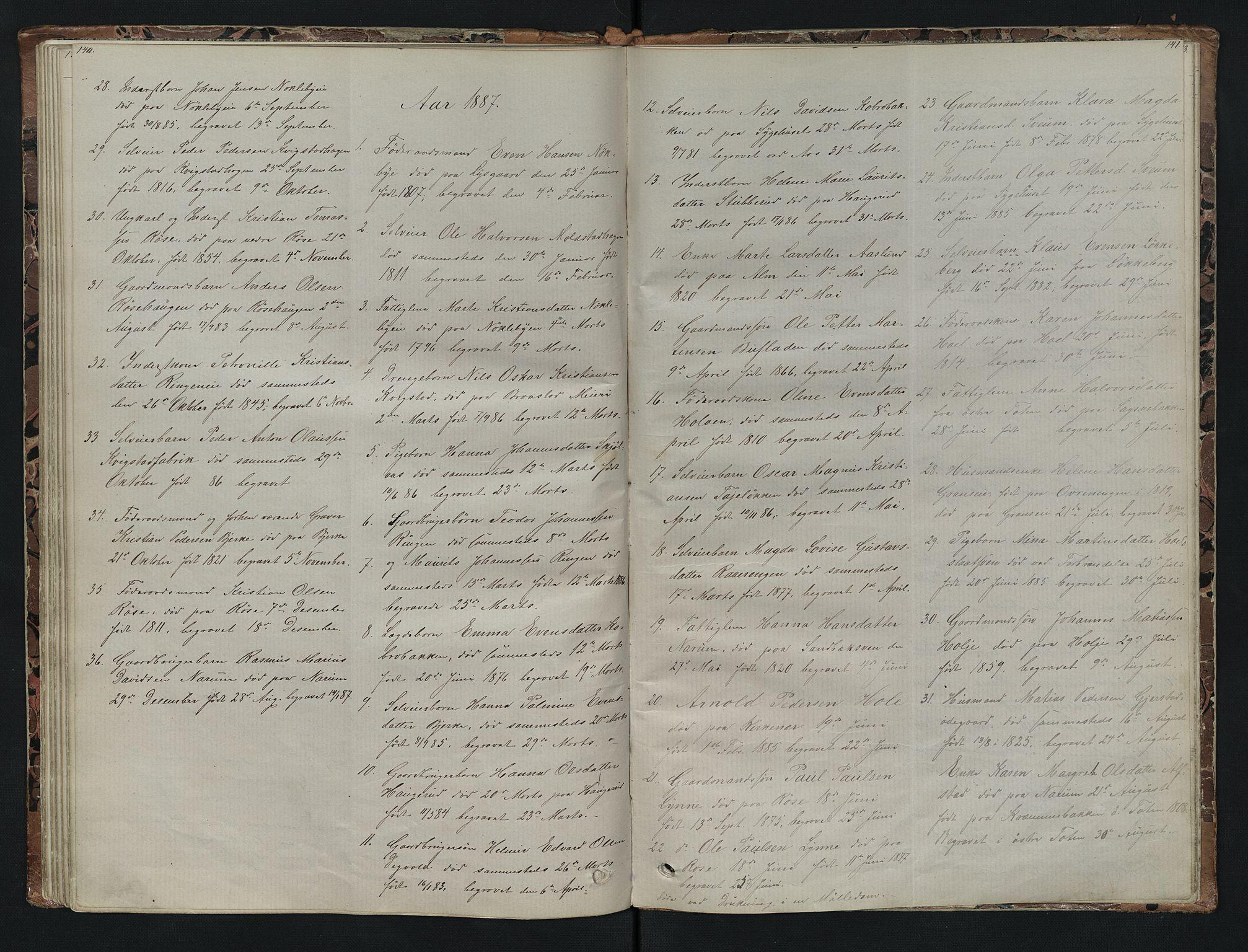 SAH, Vestre Toten prestekontor, H/Ha/Hab/L0007: Klokkerbok nr. 7, 1872-1900, s. 140-141