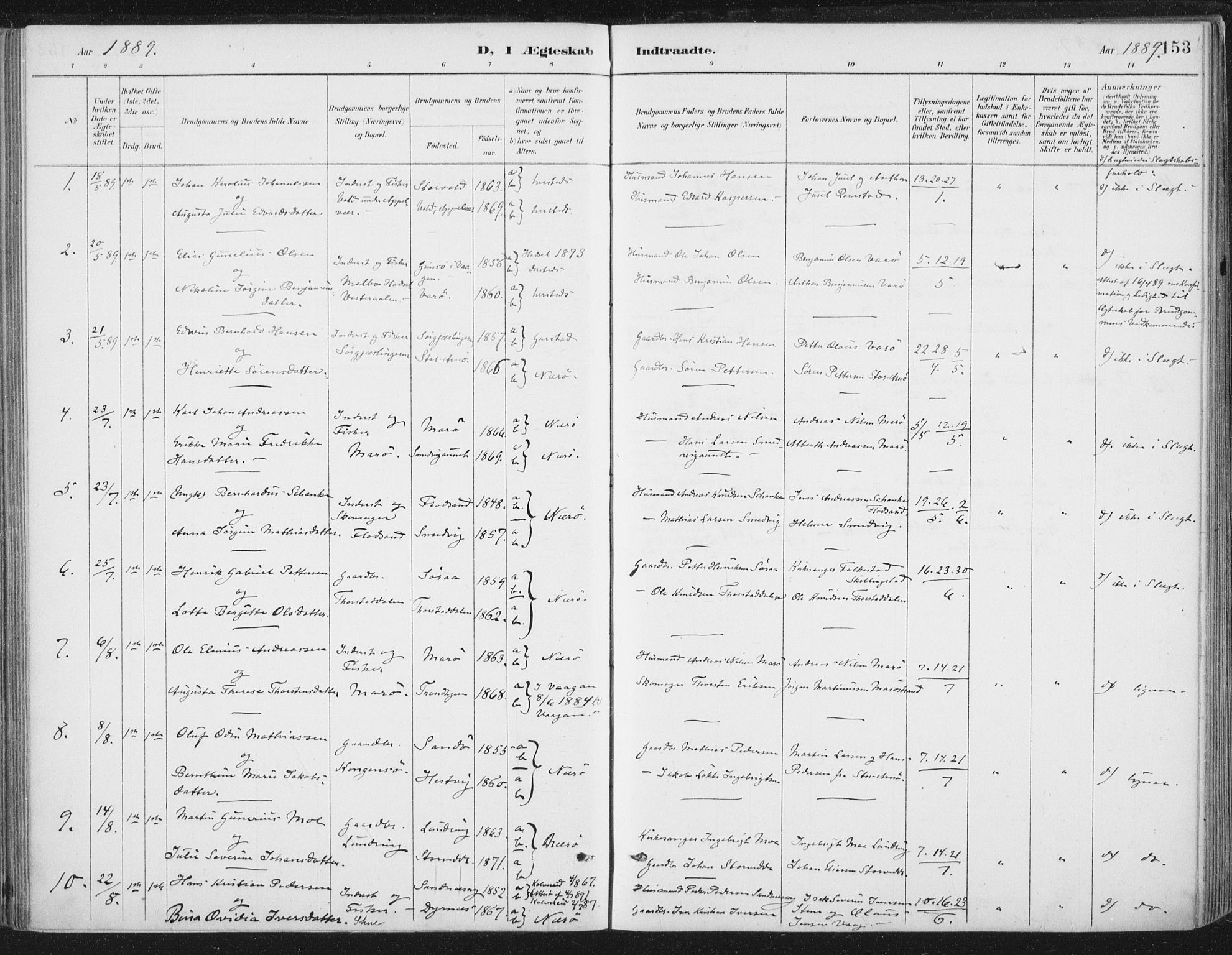 SAT, Ministerialprotokoller, klokkerbøker og fødselsregistre - Nord-Trøndelag, 784/L0673: Ministerialbok nr. 784A08, 1888-1899, s. 153