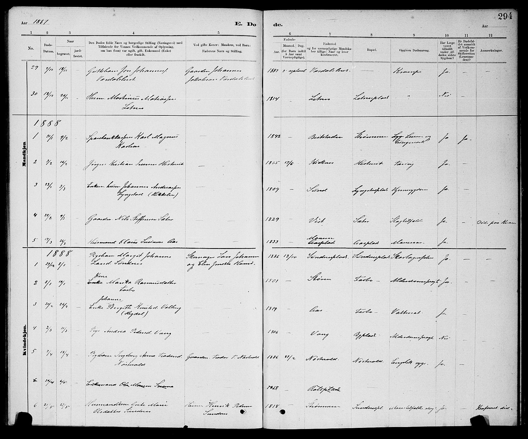 SAT, Ministerialprotokoller, klokkerbøker og fødselsregistre - Nord-Trøndelag, 730/L0301: Klokkerbok nr. 730C04, 1880-1897, s. 294