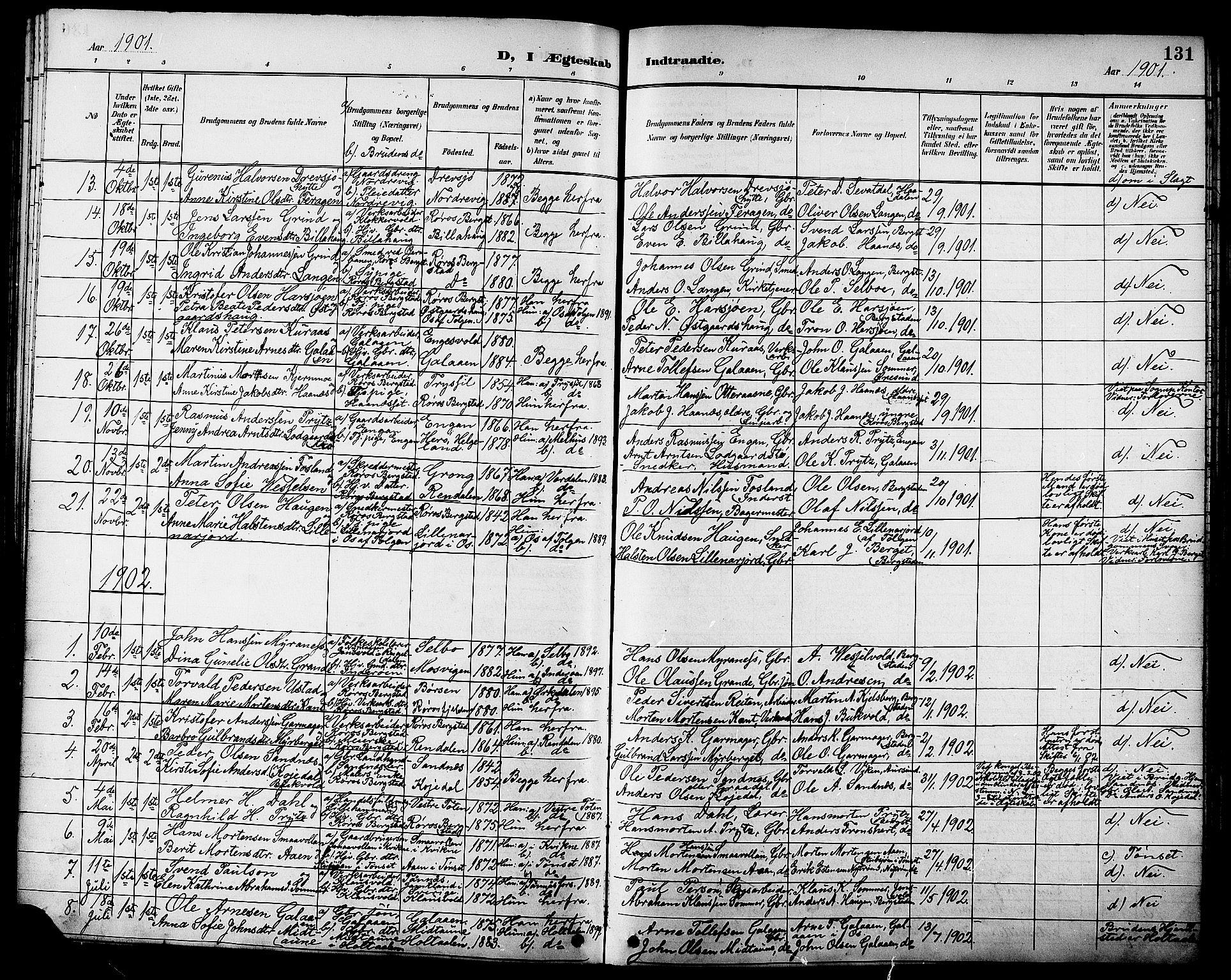 SAT, Ministerialprotokoller, klokkerbøker og fødselsregistre - Sør-Trøndelag, 681/L0941: Klokkerbok nr. 681C05, 1896-1905, s. 131