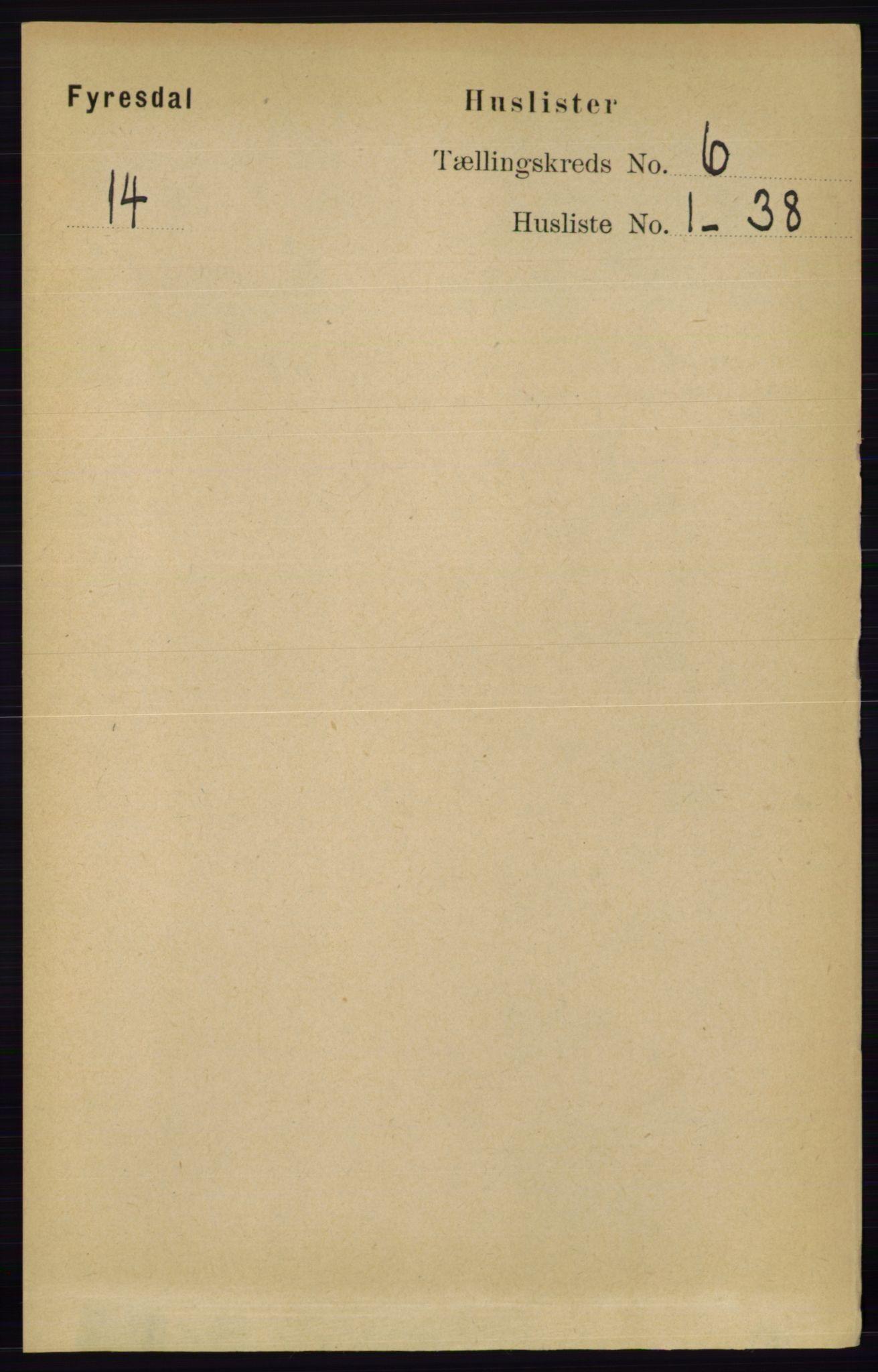 RA, Folketelling 1891 for 0831 Fyresdal herred, 1891, s. 1621