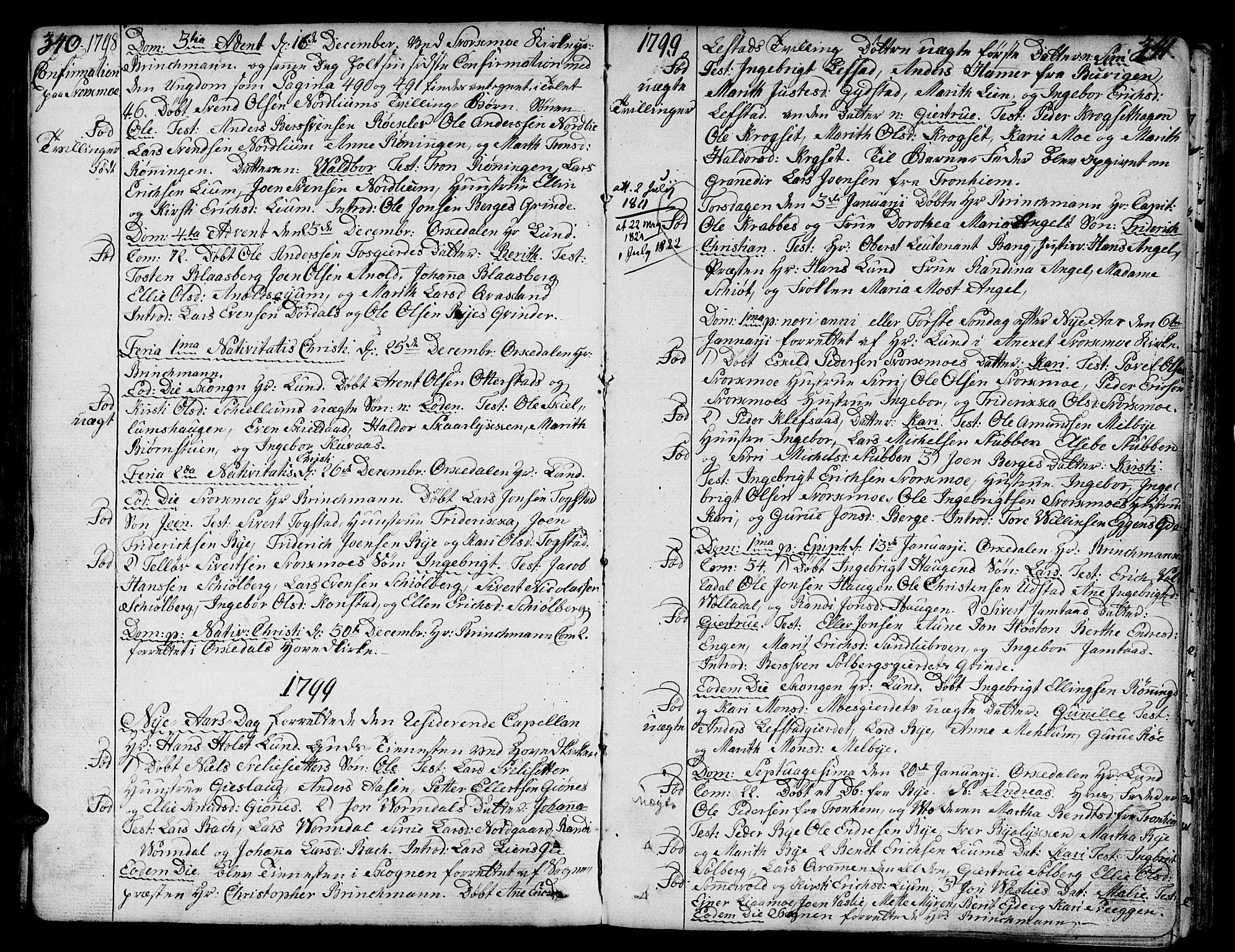 SAT, Ministerialprotokoller, klokkerbøker og fødselsregistre - Sør-Trøndelag, 668/L0802: Ministerialbok nr. 668A02, 1776-1799, s. 340-341