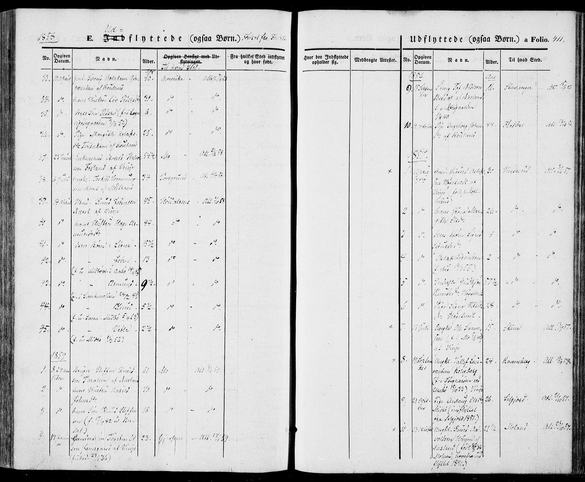 SAKO, Vinje kirkebøker, F/Fa/L0004: Ministerialbok nr. I 4, 1843-1869, s. 411