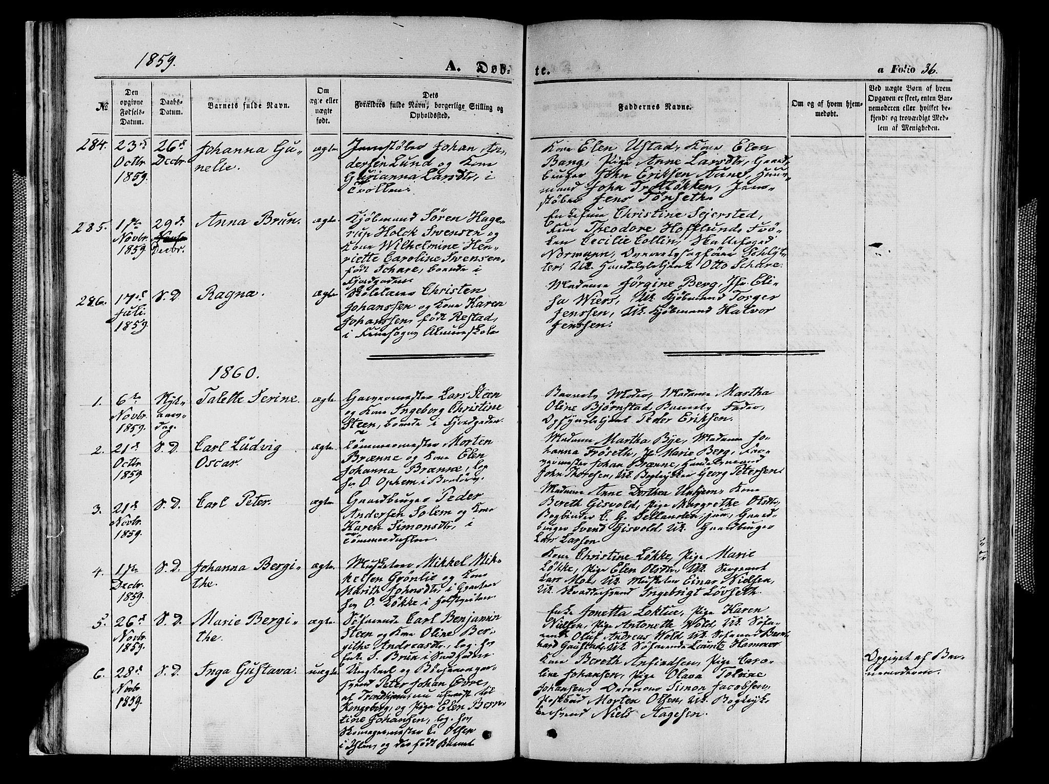 SAT, Ministerialprotokoller, klokkerbøker og fødselsregistre - Sør-Trøndelag, 602/L0139: Klokkerbok nr. 602C07, 1859-1864, s. 36