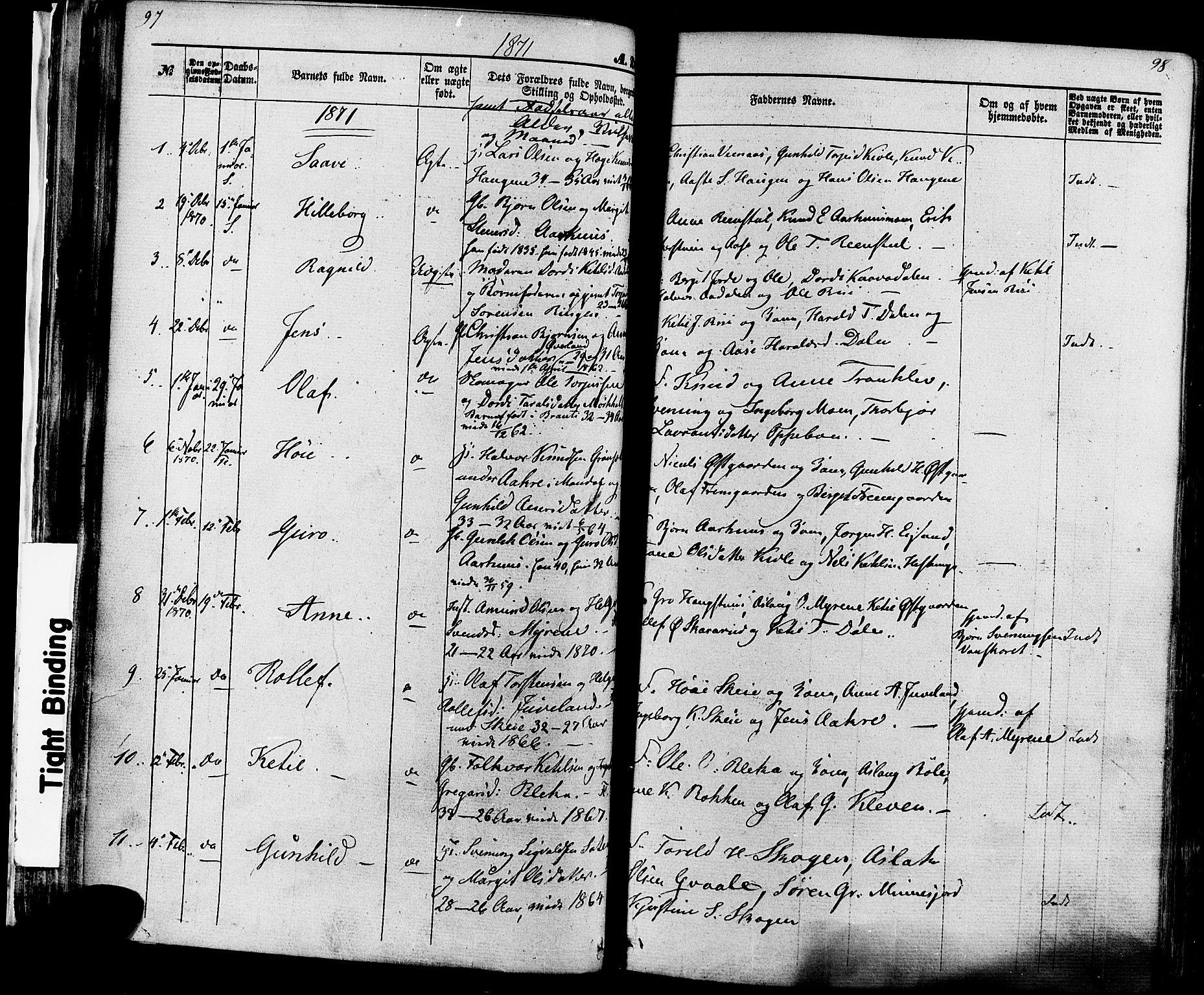 SAKO, Seljord kirkebøker, F/Fa/L0013: Ministerialbok nr. I 13, 1866-1876, s. 97-98
