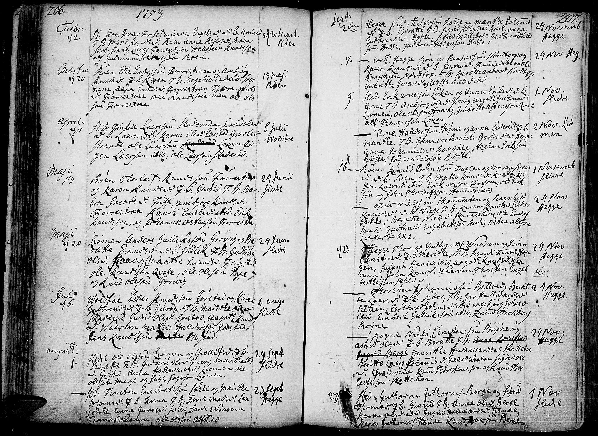 SAH, Slidre prestekontor, Ministerialbok nr. 1, 1724-1814, s. 206-207