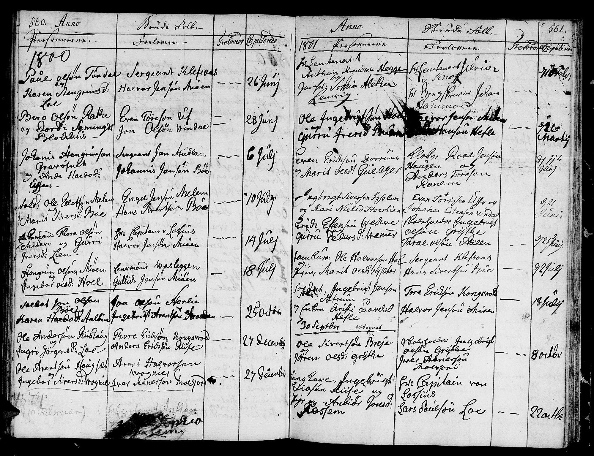SAT, Ministerialprotokoller, klokkerbøker og fødselsregistre - Sør-Trøndelag, 678/L0893: Ministerialbok nr. 678A03, 1792-1805, s. 560-561