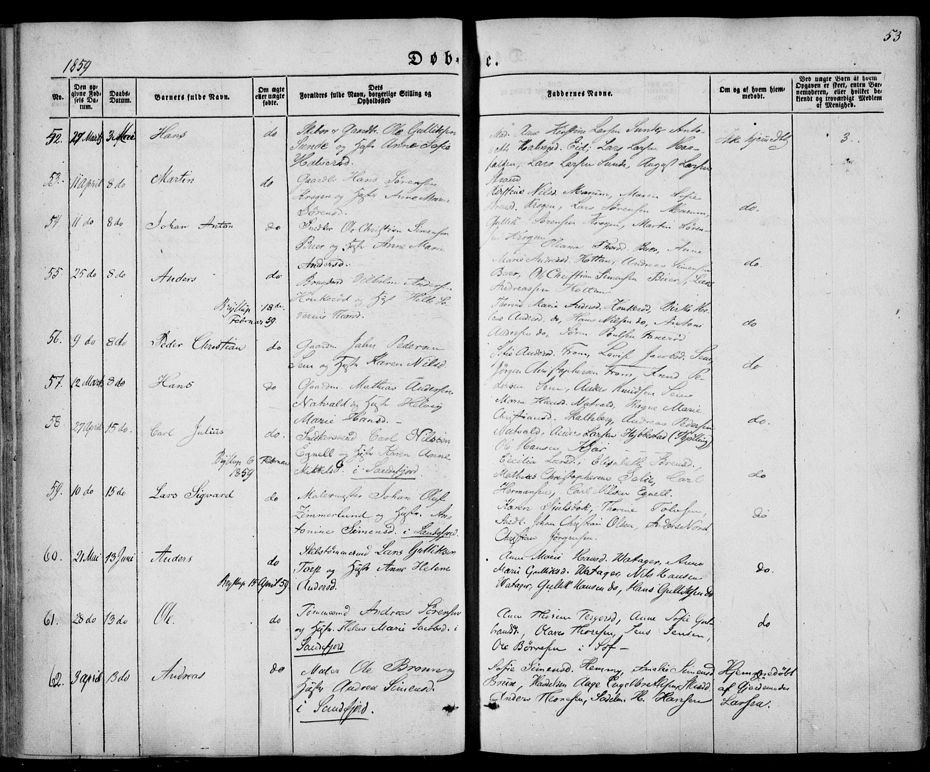 SAKO, Sandar kirkebøker, F/Fa/L0007: Ministerialbok nr. 7, 1855-1861, s. 53