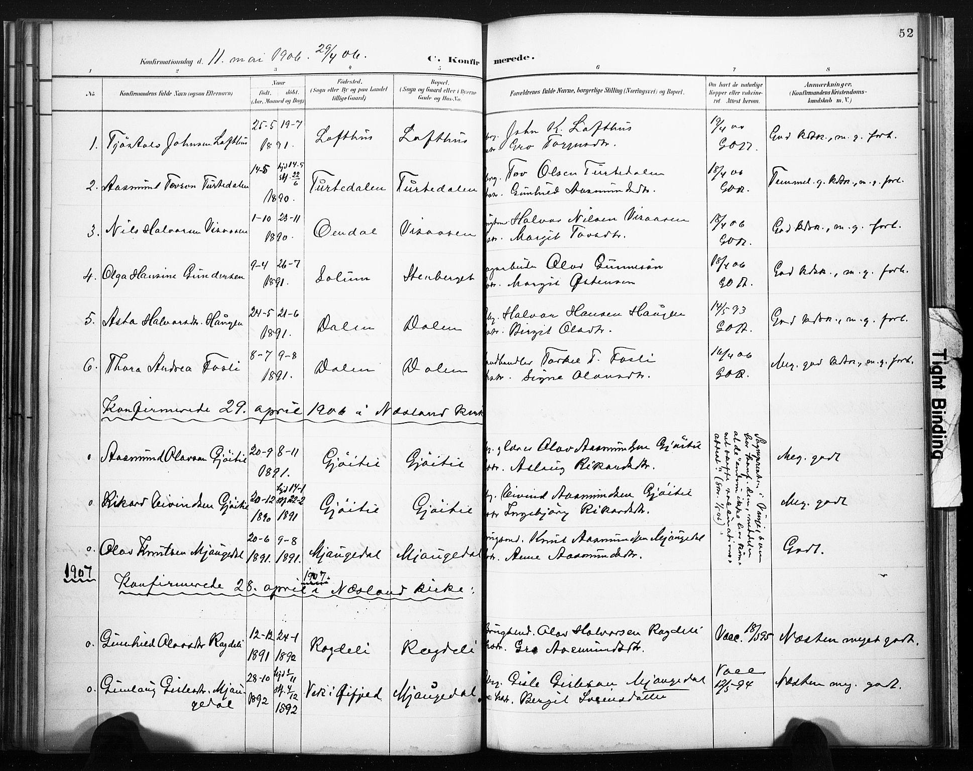 SAKO, Lårdal kirkebøker, F/Fb/L0002: Ministerialbok nr. II 2, 1887-1918, s. 52