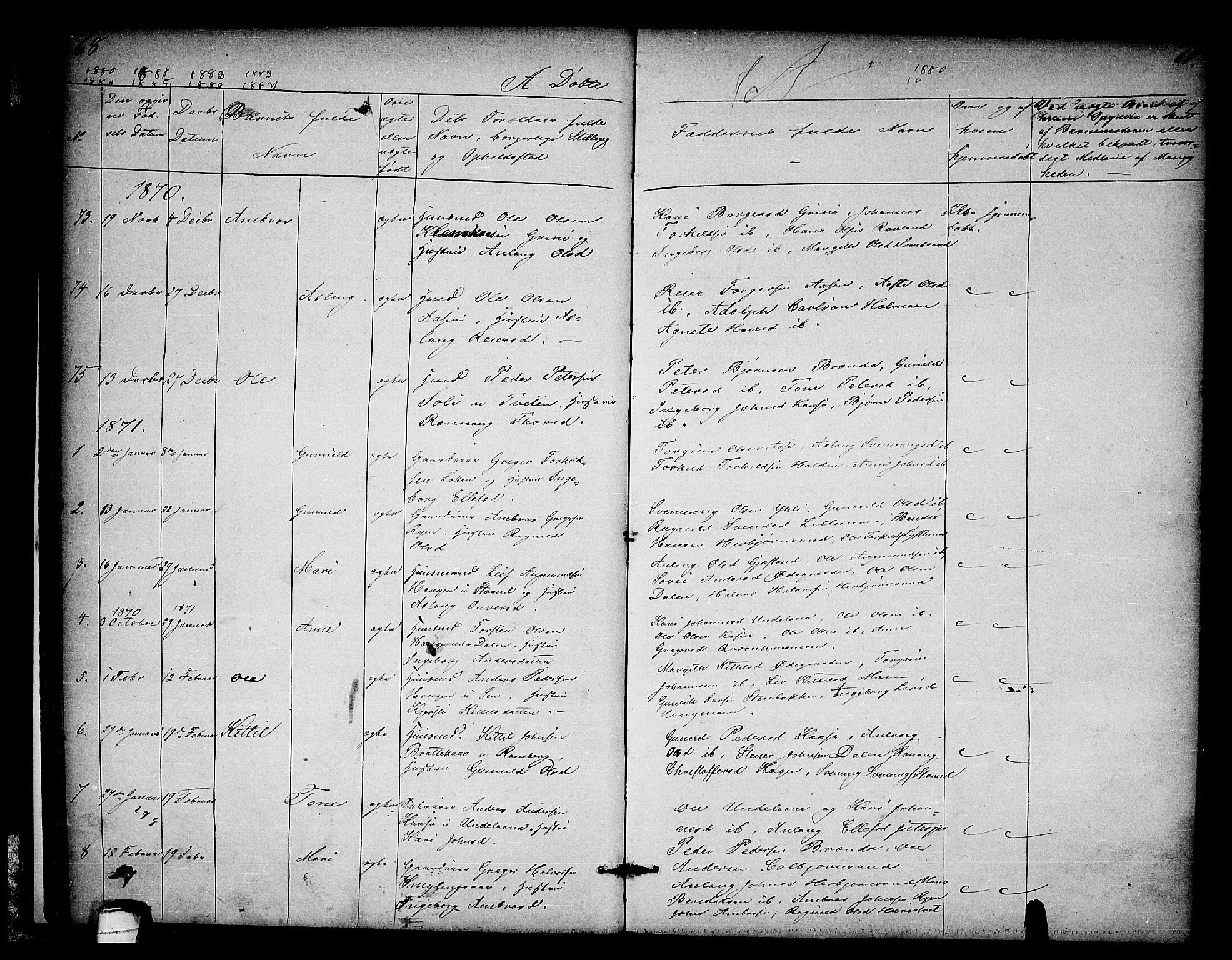 SAKO, Heddal kirkebøker, G/Ga/L0001: Klokkerbok nr. I 1, 1866-1878, s. 68-69