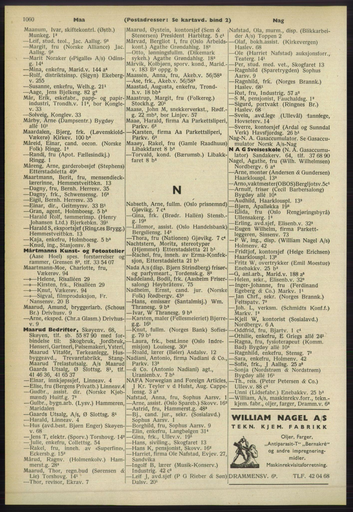 RA, Oslo adressebok (publikasjon)*, 1960-1961, s. 1060