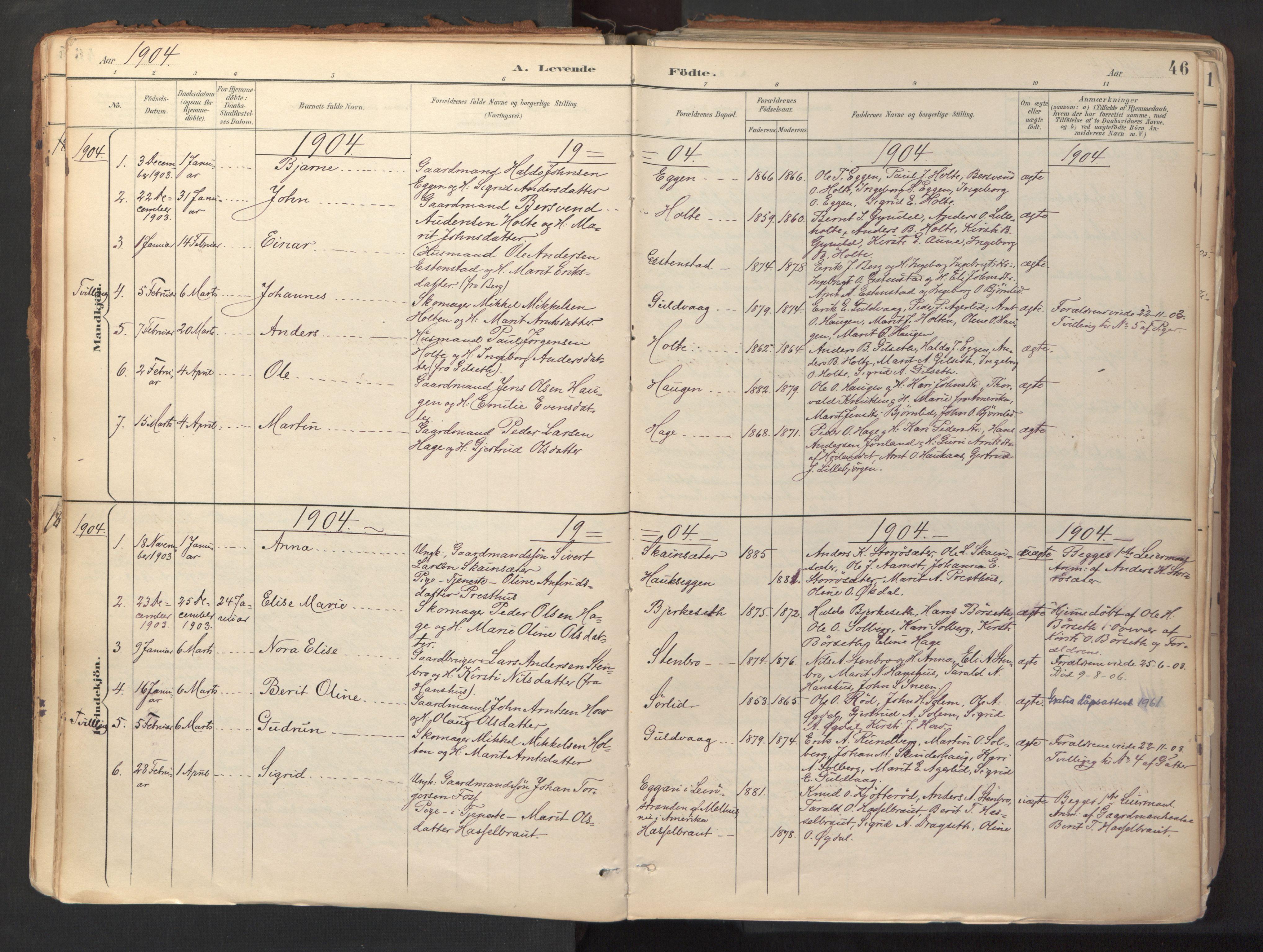 SAT, Ministerialprotokoller, klokkerbøker og fødselsregistre - Sør-Trøndelag, 689/L1041: Ministerialbok nr. 689A06, 1891-1923, s. 46