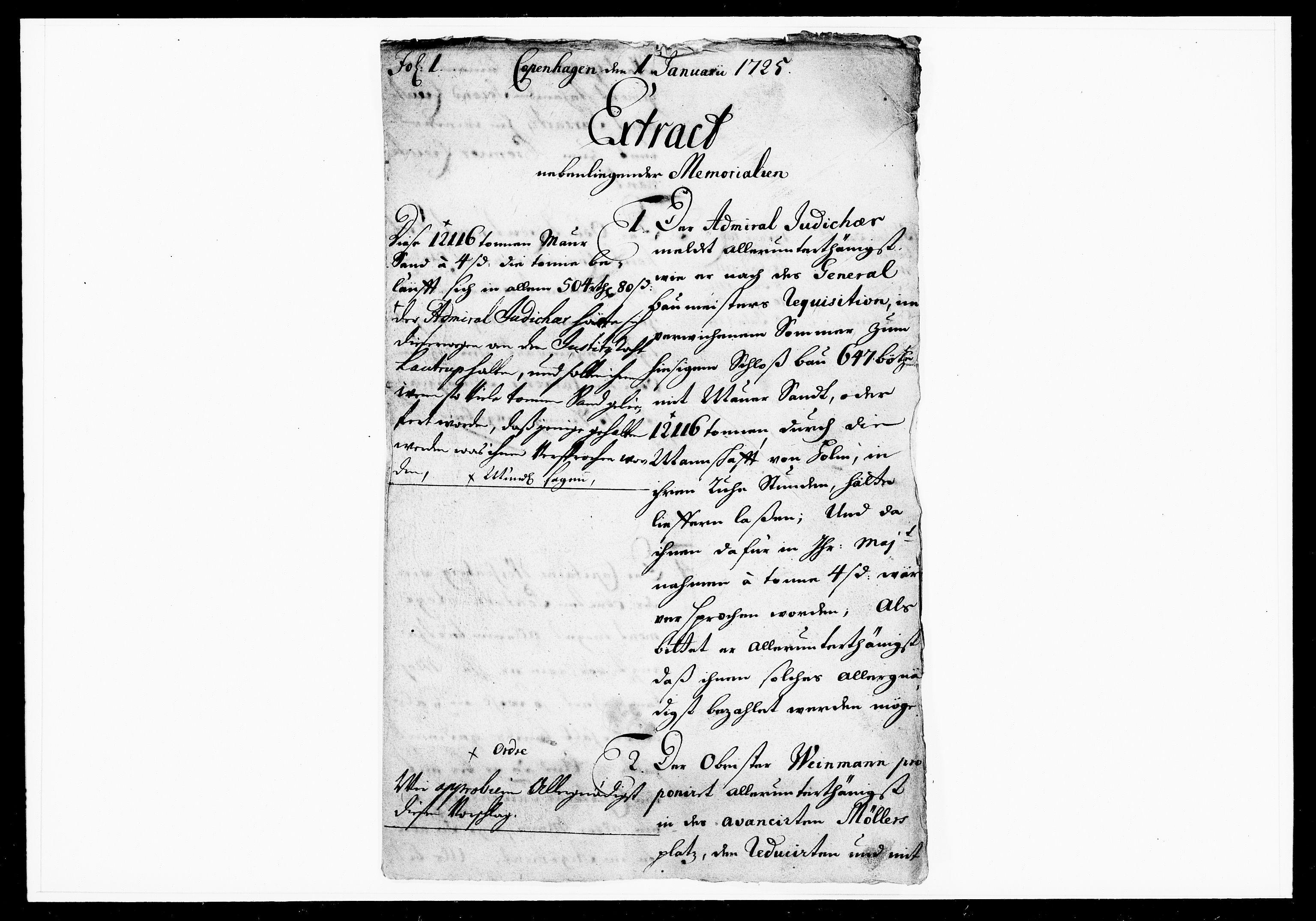 DRA, Krigskollegiet, Krigskancelliet, -/1075-1077: Refererede sager, 1725, s. 2