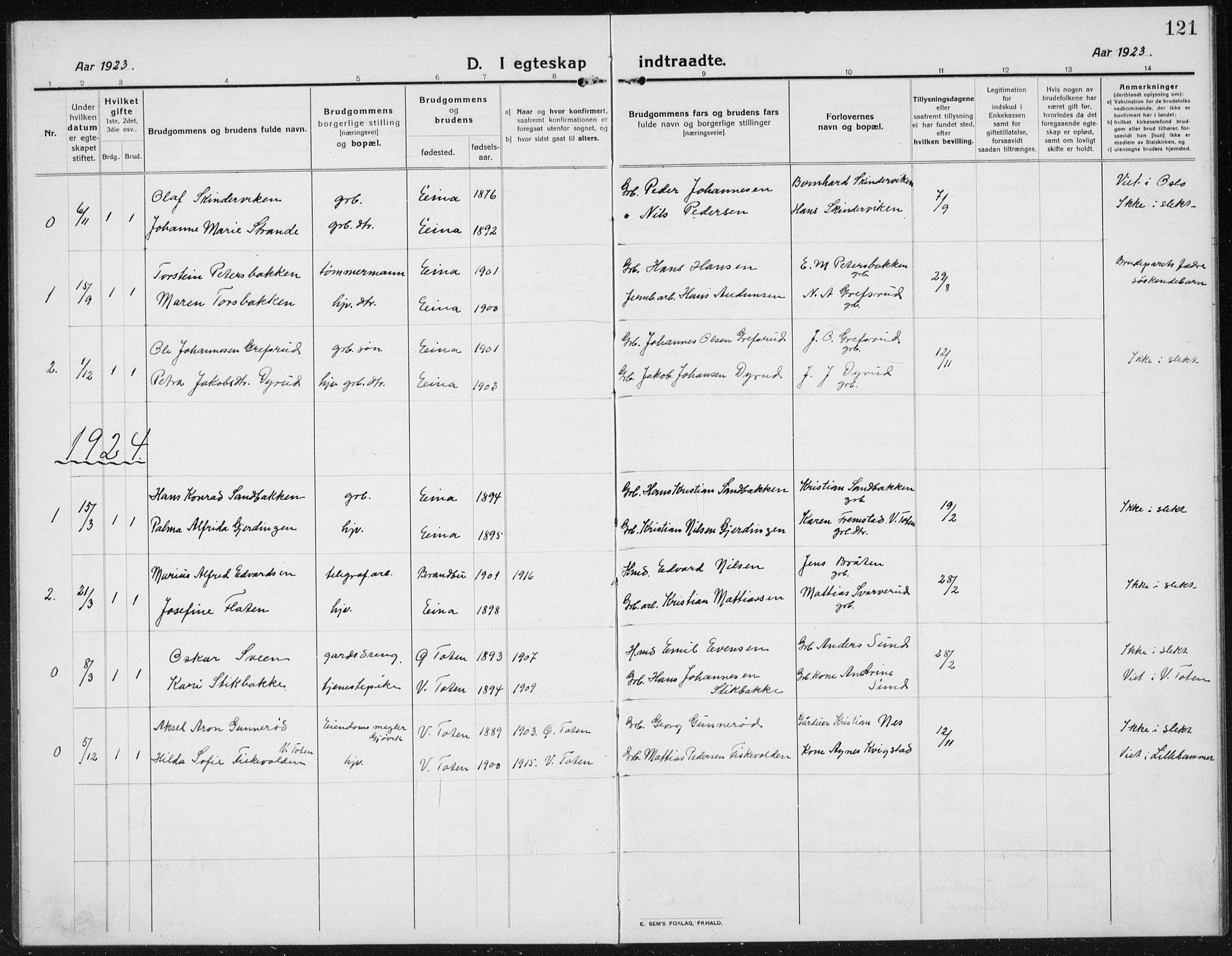 SAH, Kolbu prestekontor, Klokkerbok nr. 6, 1916-1934, s. 121