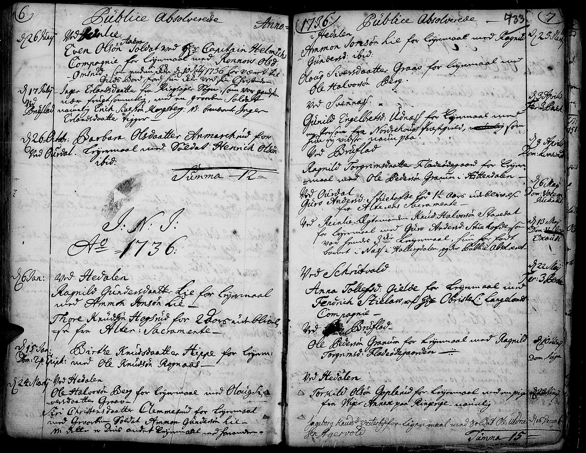SAH, Aurdal prestekontor, Ministerialbok nr. 4, 1730-1762, s. 6-7