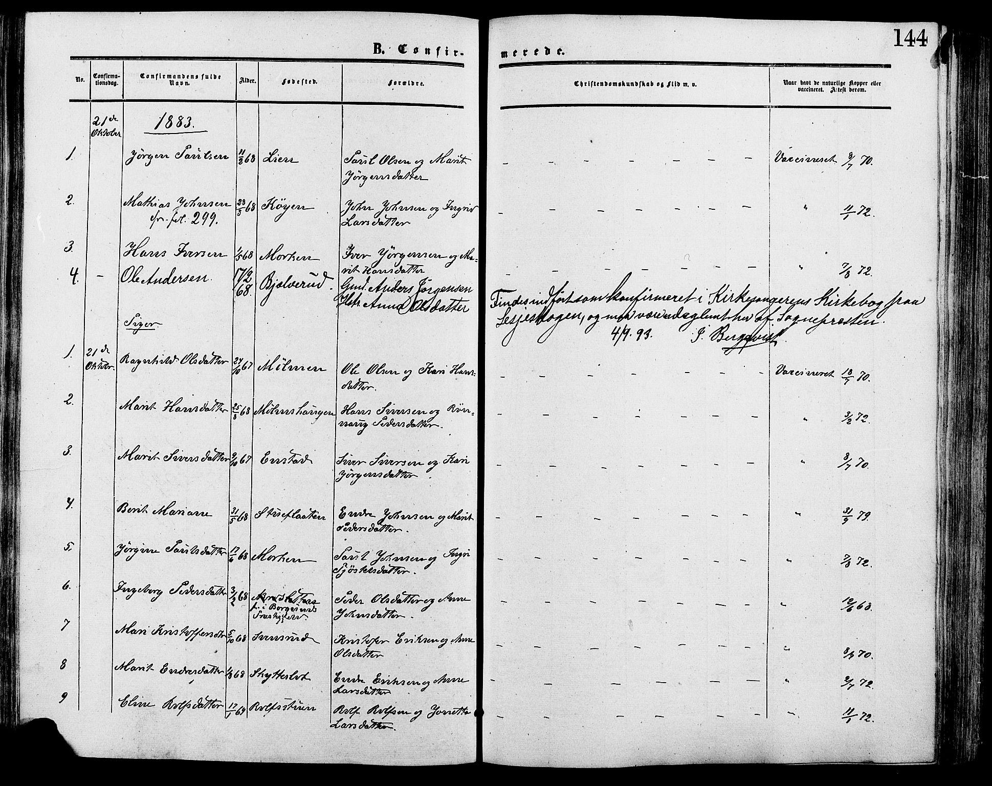 SAH, Lesja prestekontor, Ministerialbok nr. 9, 1854-1889, s. 144