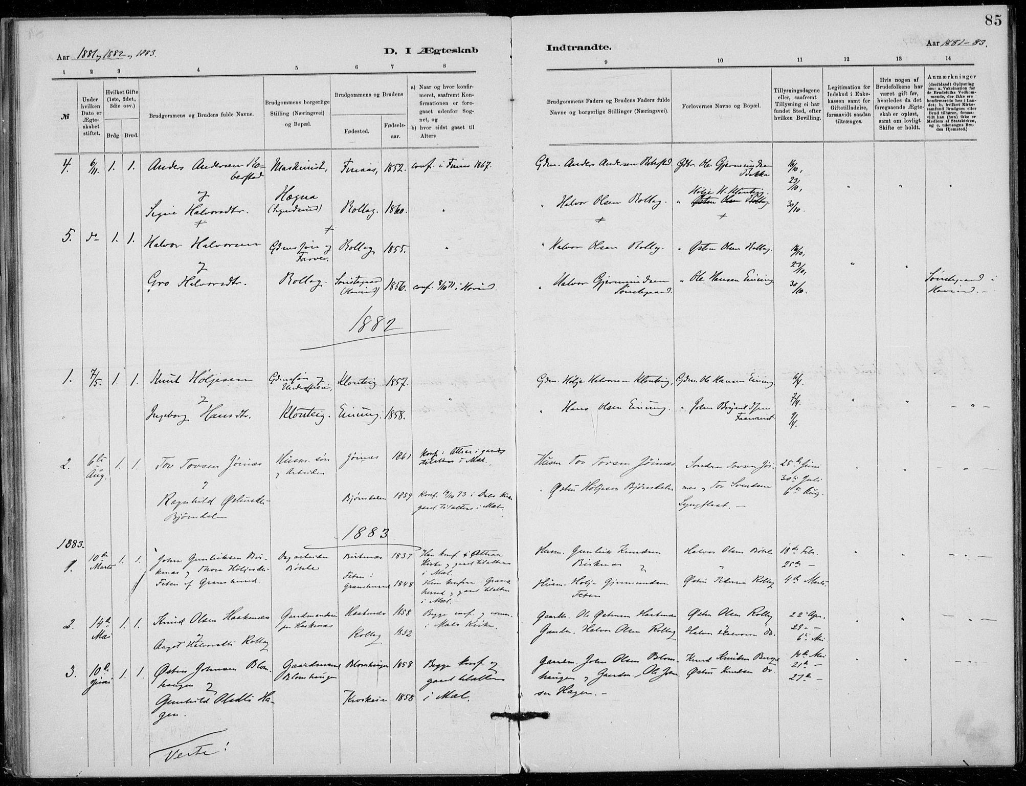 SAKO, Tinn kirkebøker, F/Fb/L0002: Ministerialbok nr. II 2, 1878-1917, s. 85