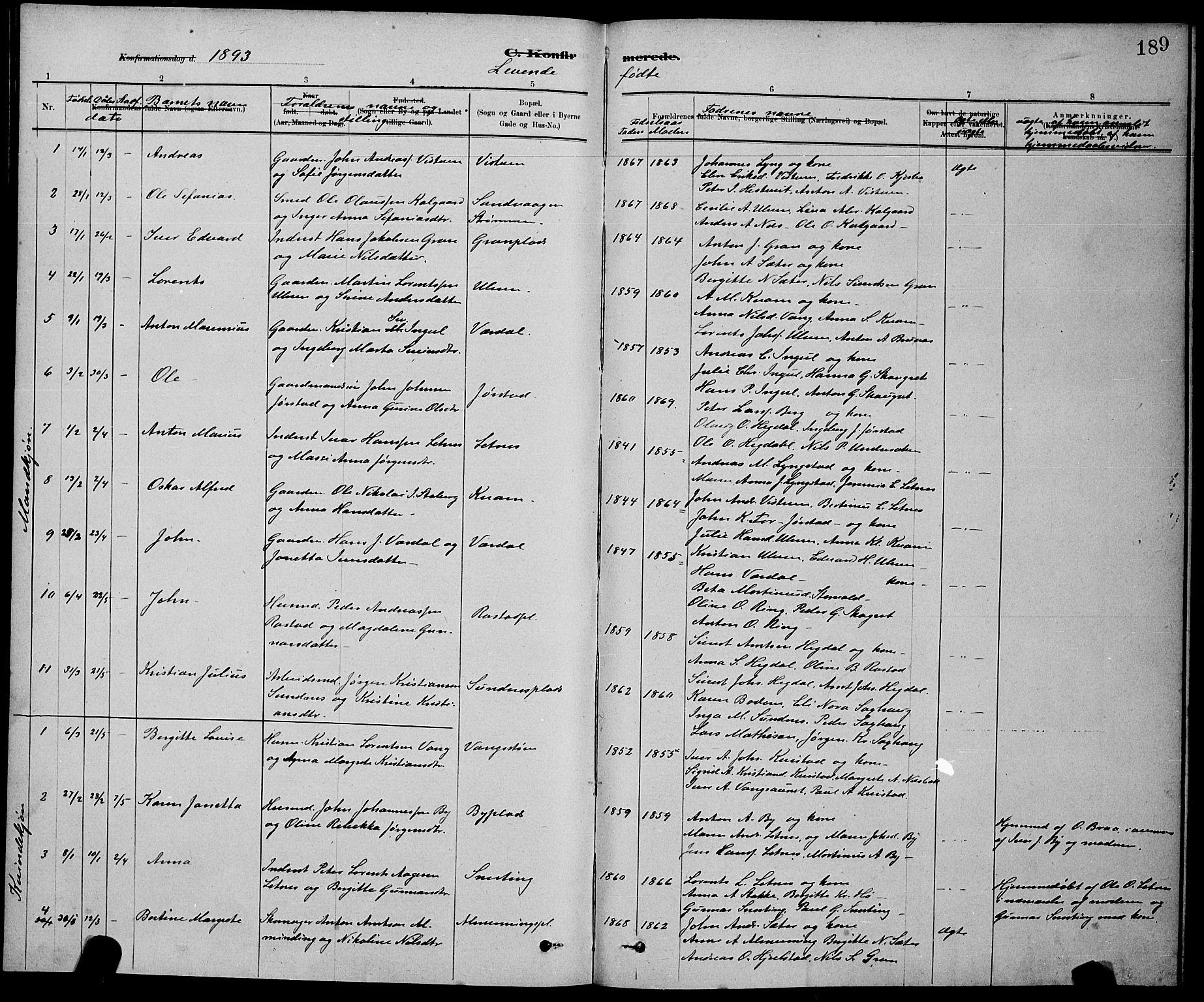 SAT, Ministerialprotokoller, klokkerbøker og fødselsregistre - Nord-Trøndelag, 730/L0301: Klokkerbok nr. 730C04, 1880-1897, s. 189