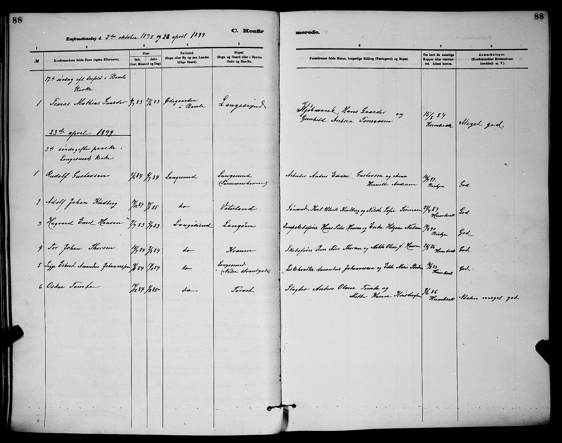 SAKO, Langesund kirkebøker, G/Ga/L0005: Klokkerbok nr. 5, 1884-1898, s. 88