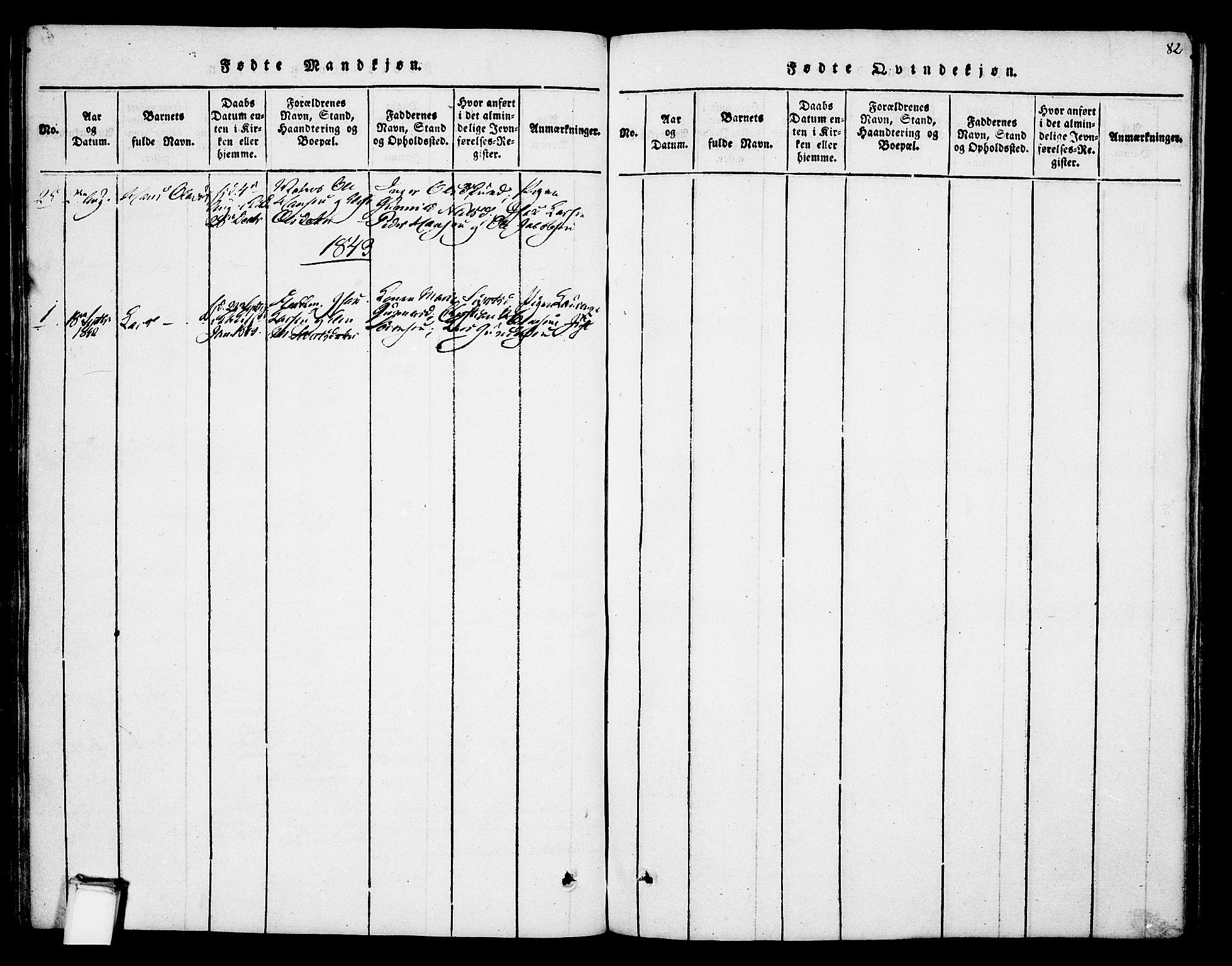 SAKO, Skien kirkebøker, F/Fa/L0005: Ministerialbok nr. 5, 1814-1843, s. 82