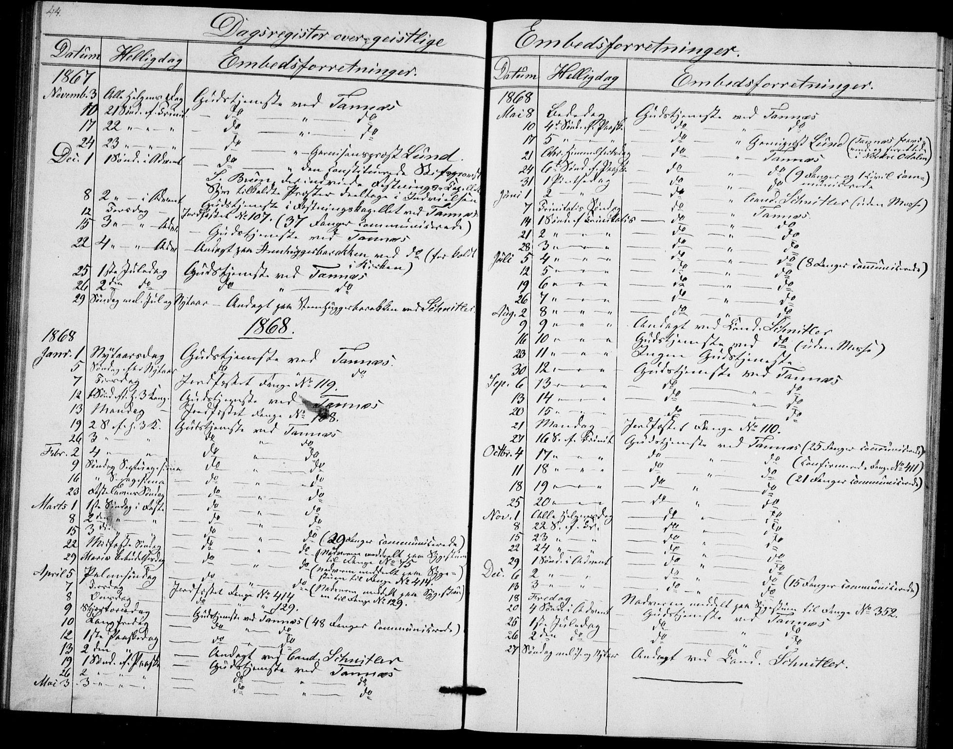 SAO, Akershus festnings slaveri Kirkebøker, F/Fa/L0002: Ministerialbok nr. 2, 1852-1883, s. 44