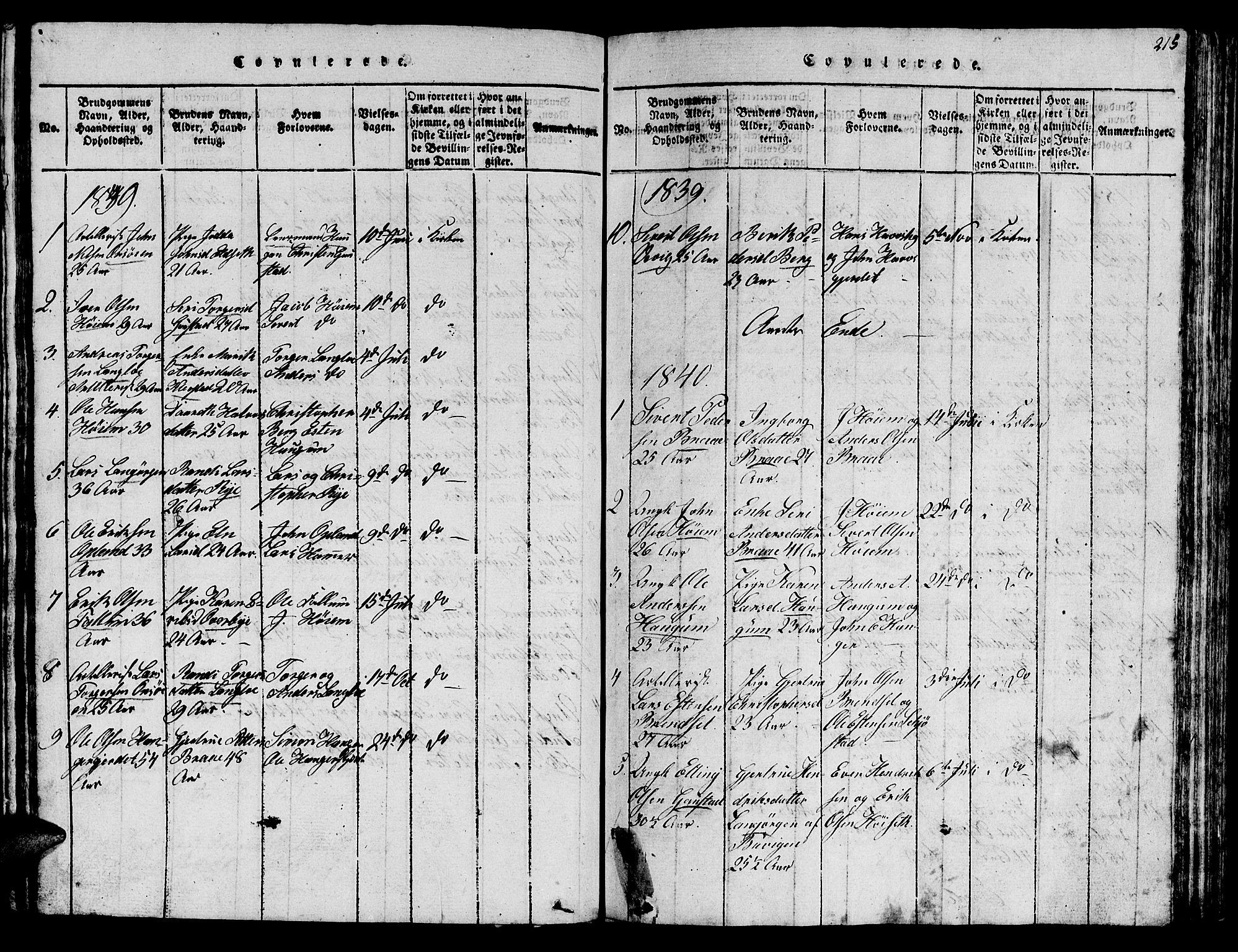 SAT, Ministerialprotokoller, klokkerbøker og fødselsregistre - Sør-Trøndelag, 612/L0385: Klokkerbok nr. 612C01, 1816-1845, s. 215