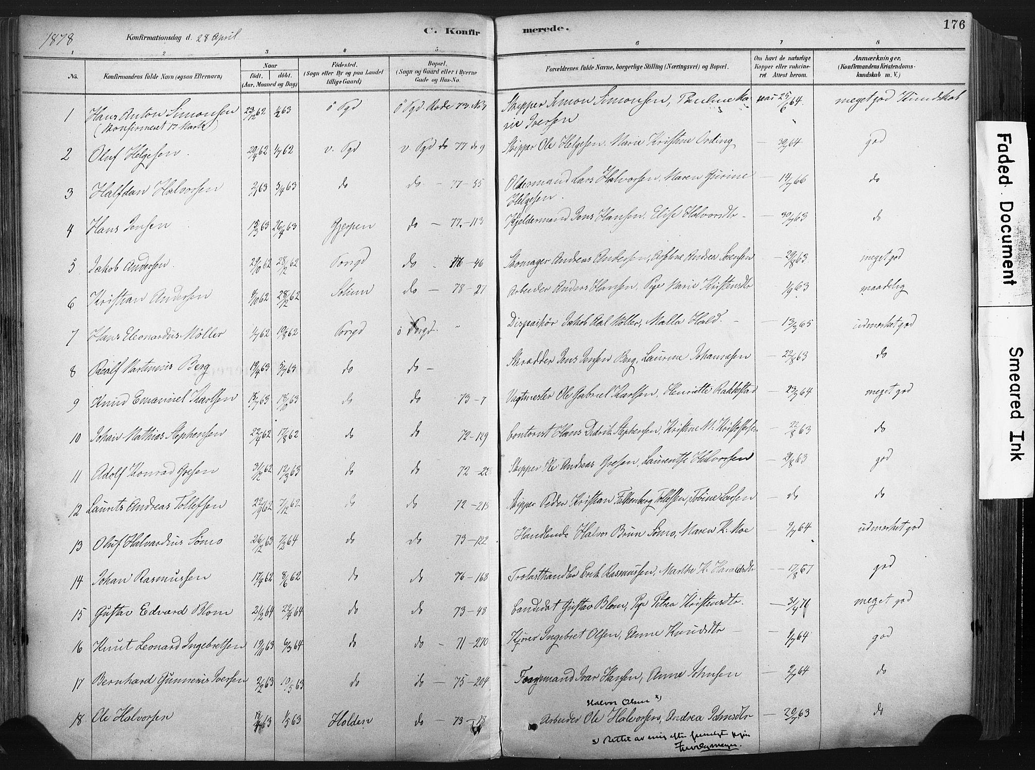 SAKO, Porsgrunn kirkebøker , F/Fa/L0008: Ministerialbok nr. 8, 1878-1895, s. 176